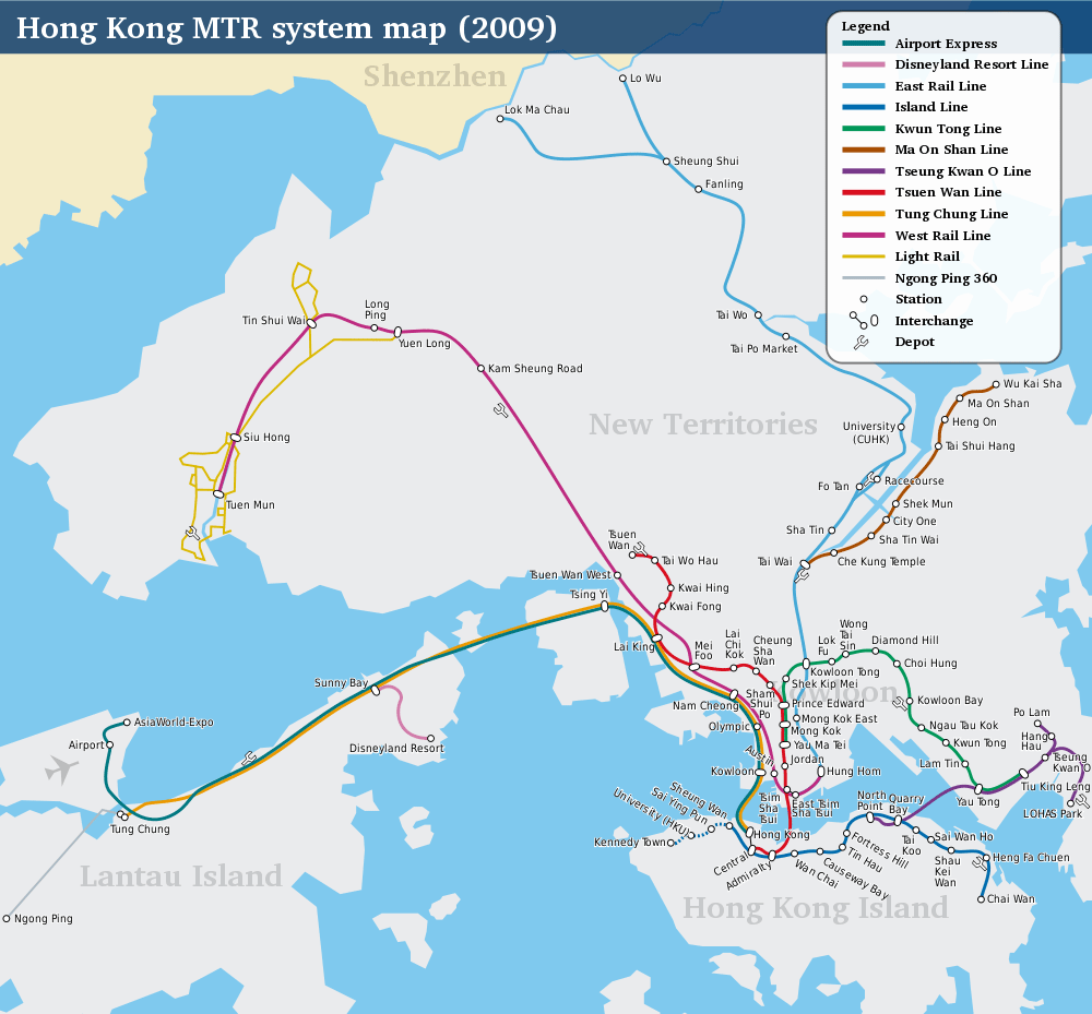 Hong Kong Railway Route Map large map