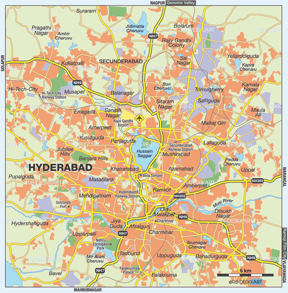 Hyderabad City Map large map