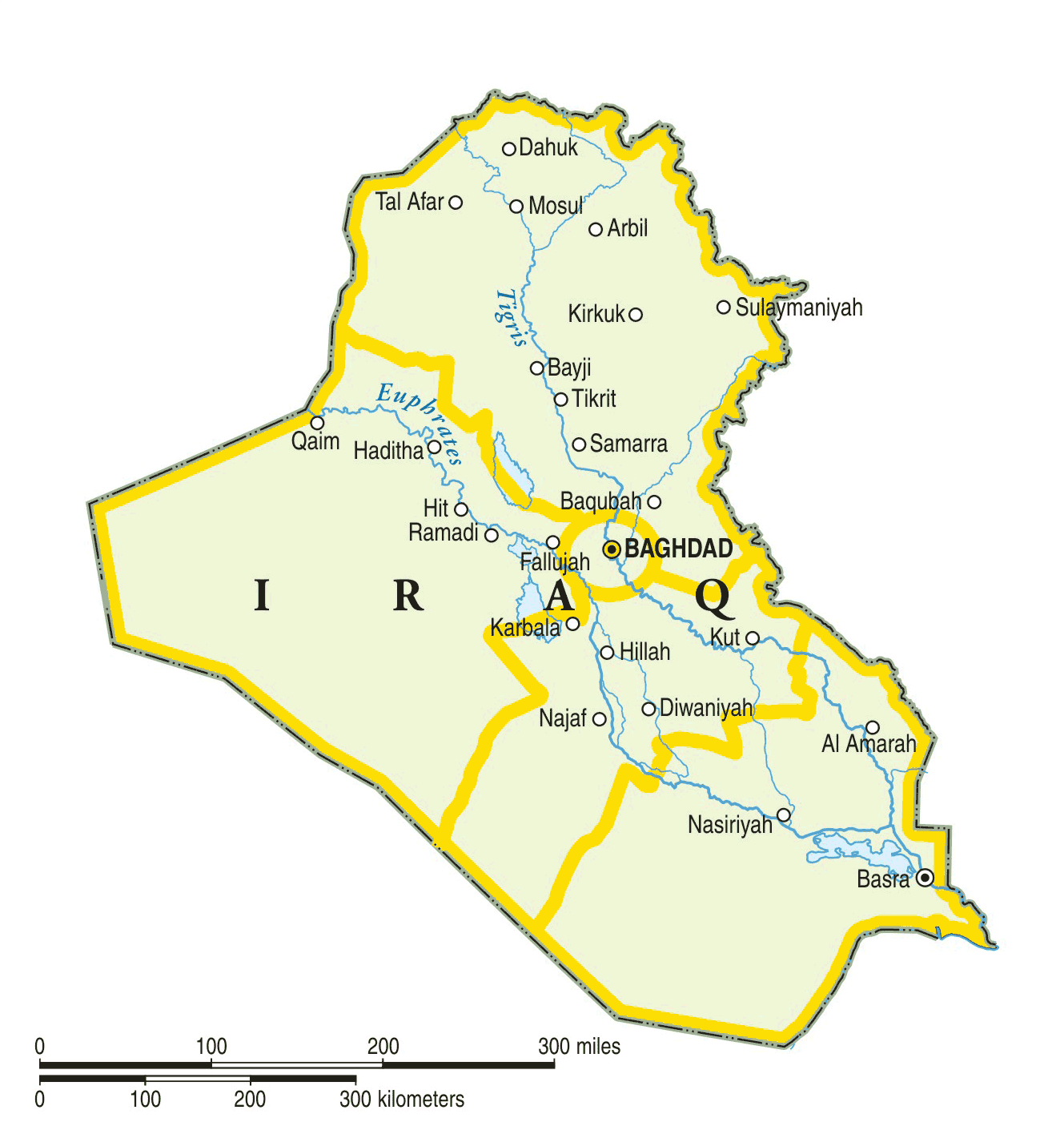 Iraq Only Map Mapsofnet - Iraq map