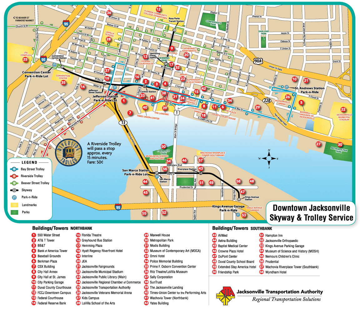 Jacksonville Downtown Transport Map  Mapsof
