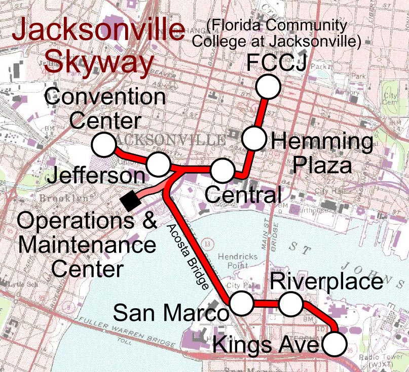 Jacksonville Monorail Map (skyway) large map