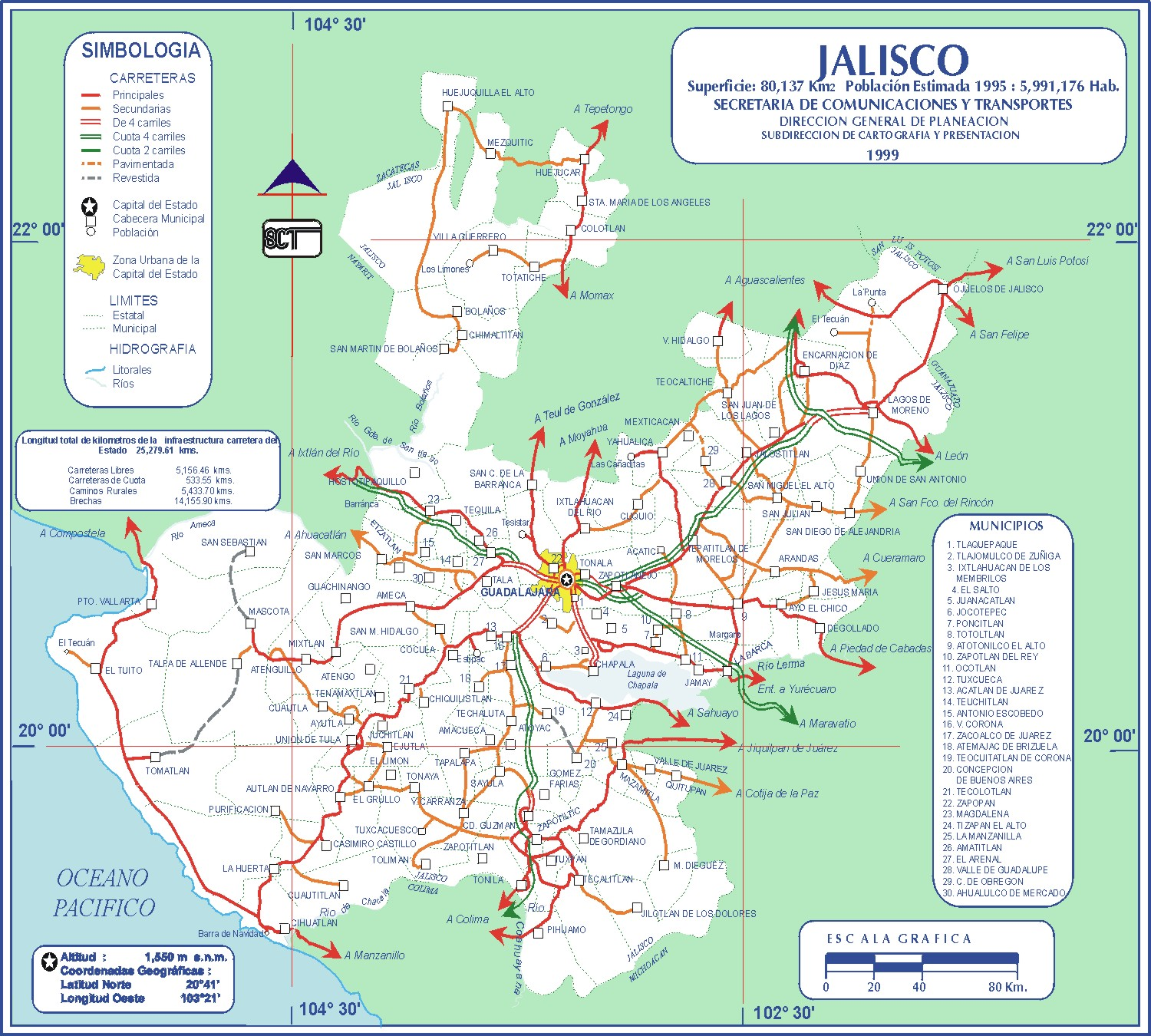 Jalisco Mexico Road Map large map