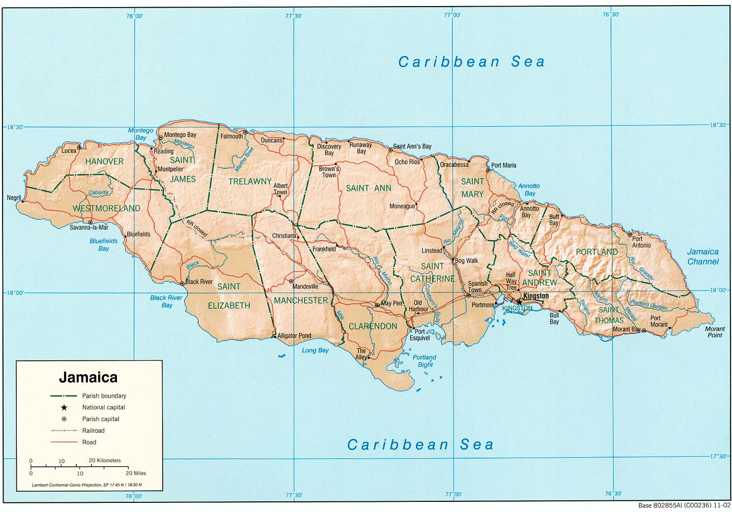 Jamaica Shading Relief Map large map