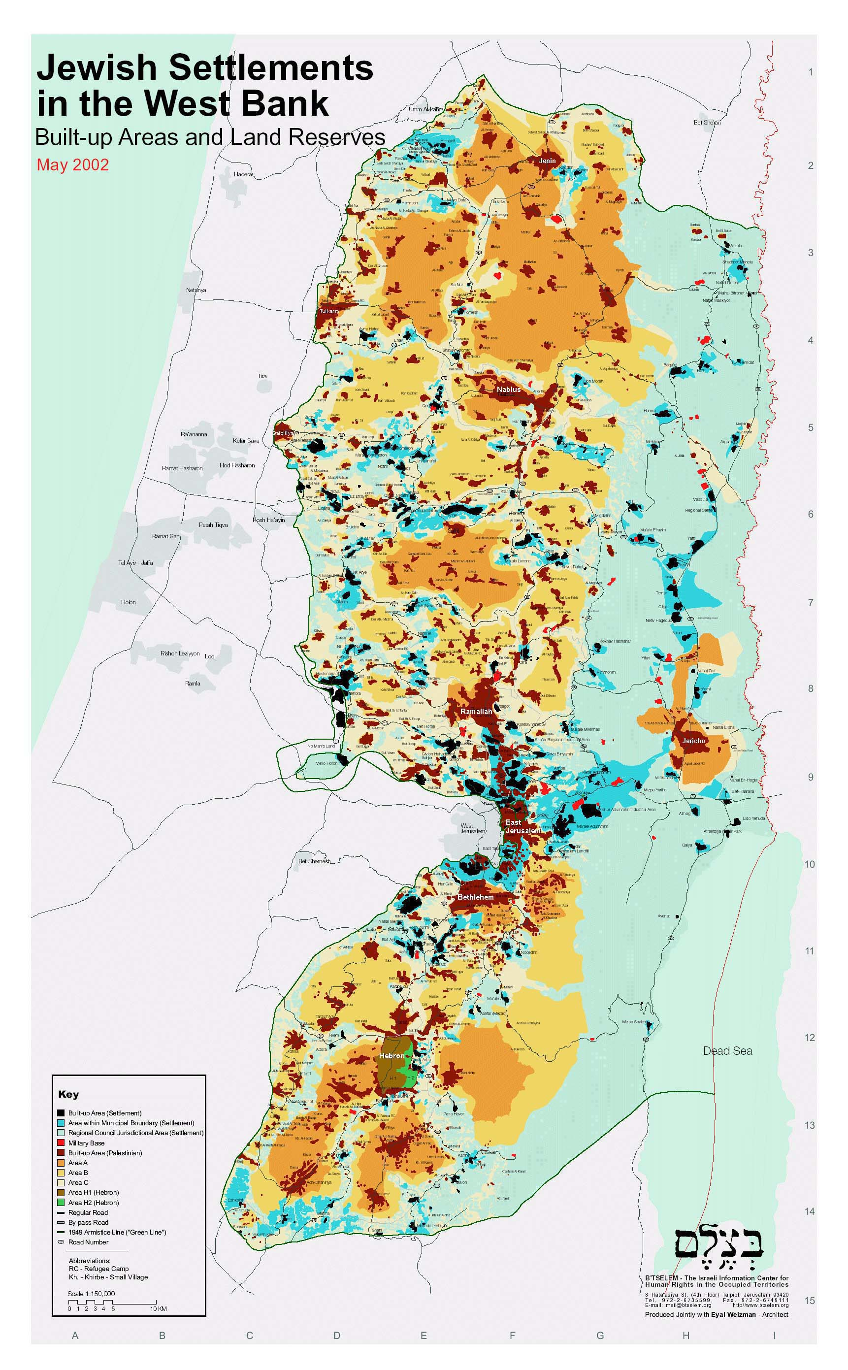 Jewish Settlements In West Bank Map large map