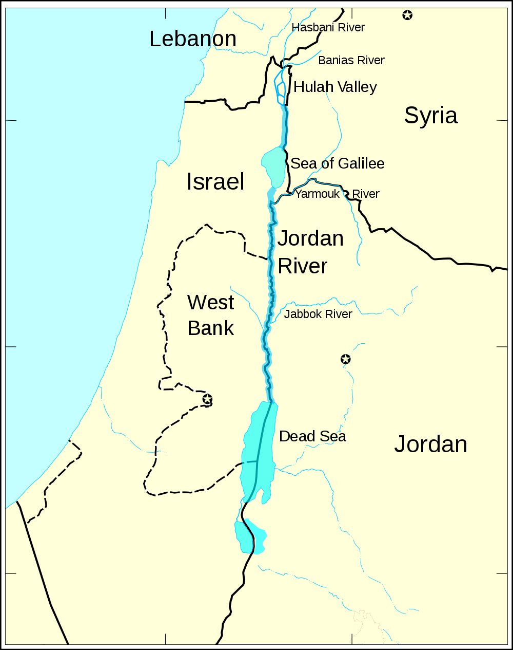 Jordan River Map large map