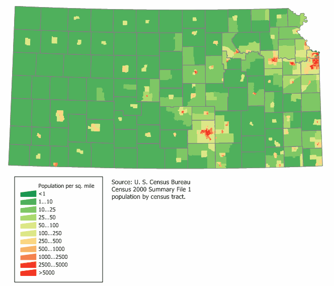 Kansas Population Map large map