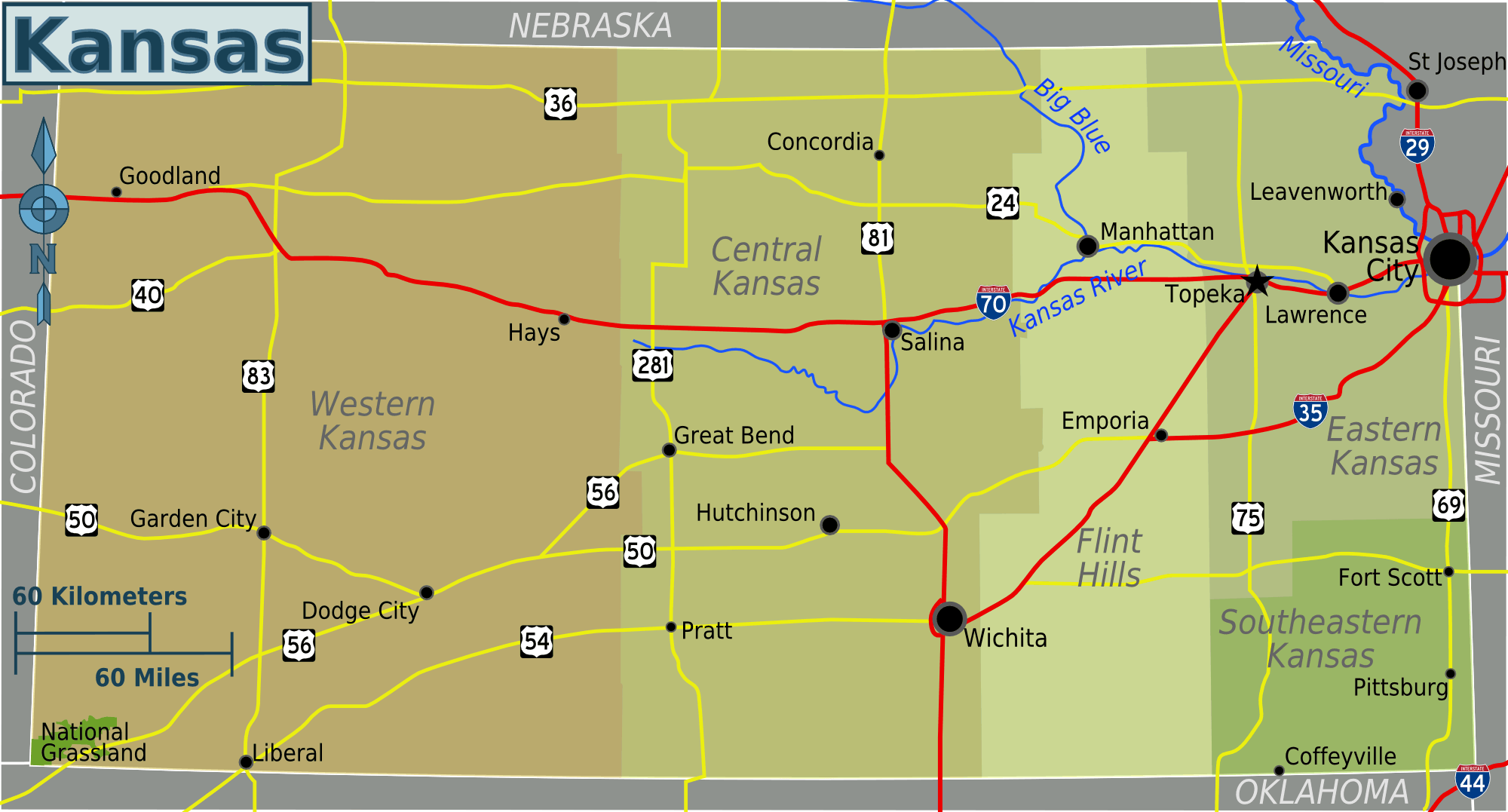 Kansas Regions Map Mapsofnet - Map of kansas