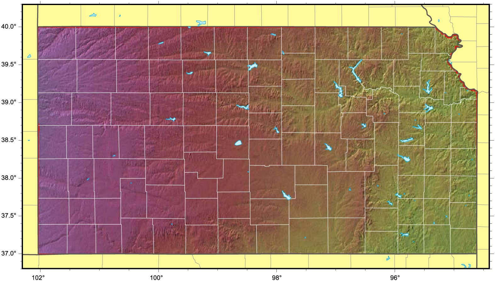 Kansas Relief Map large map