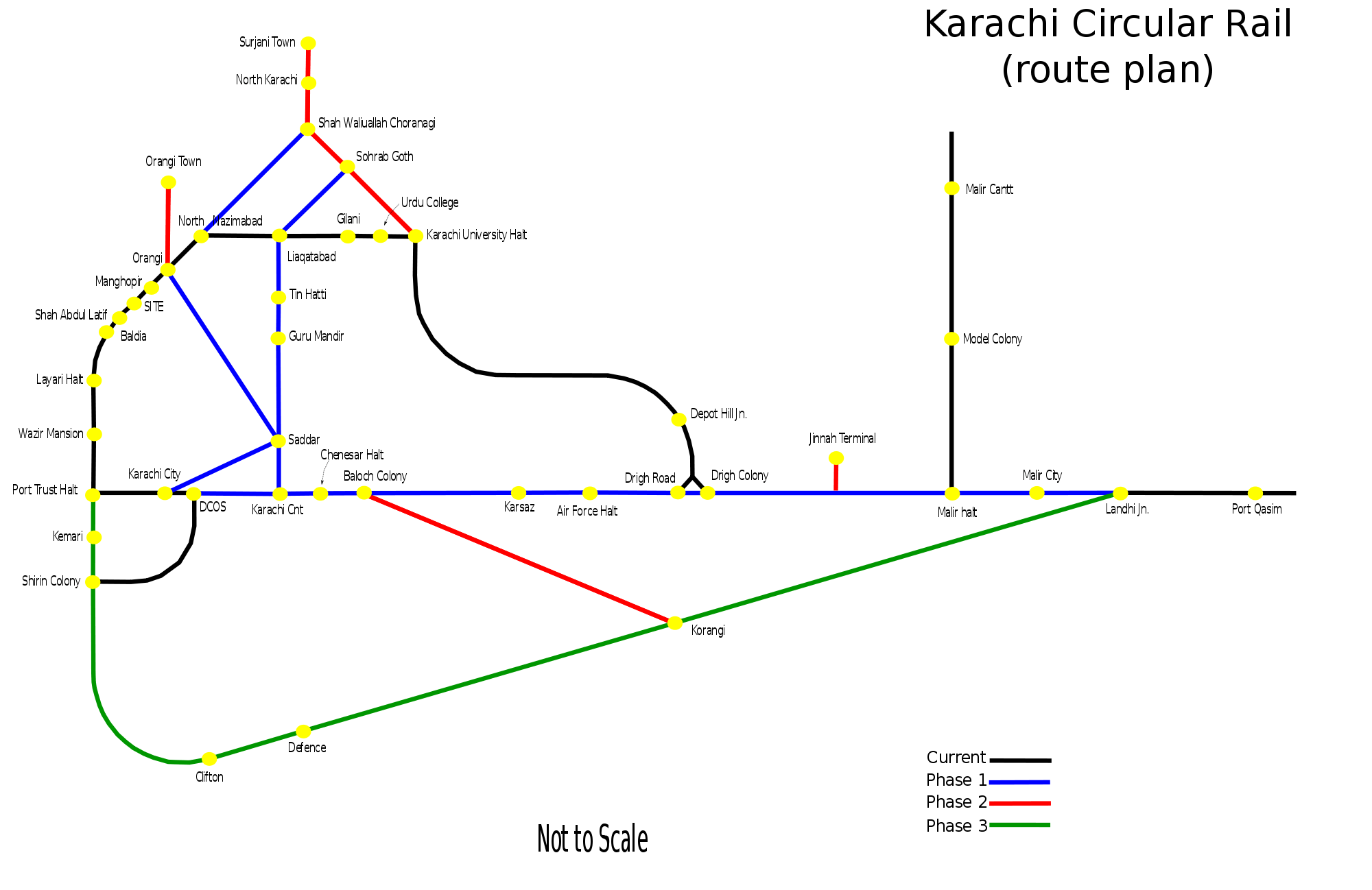 Karachi Circular Rail Route large map
