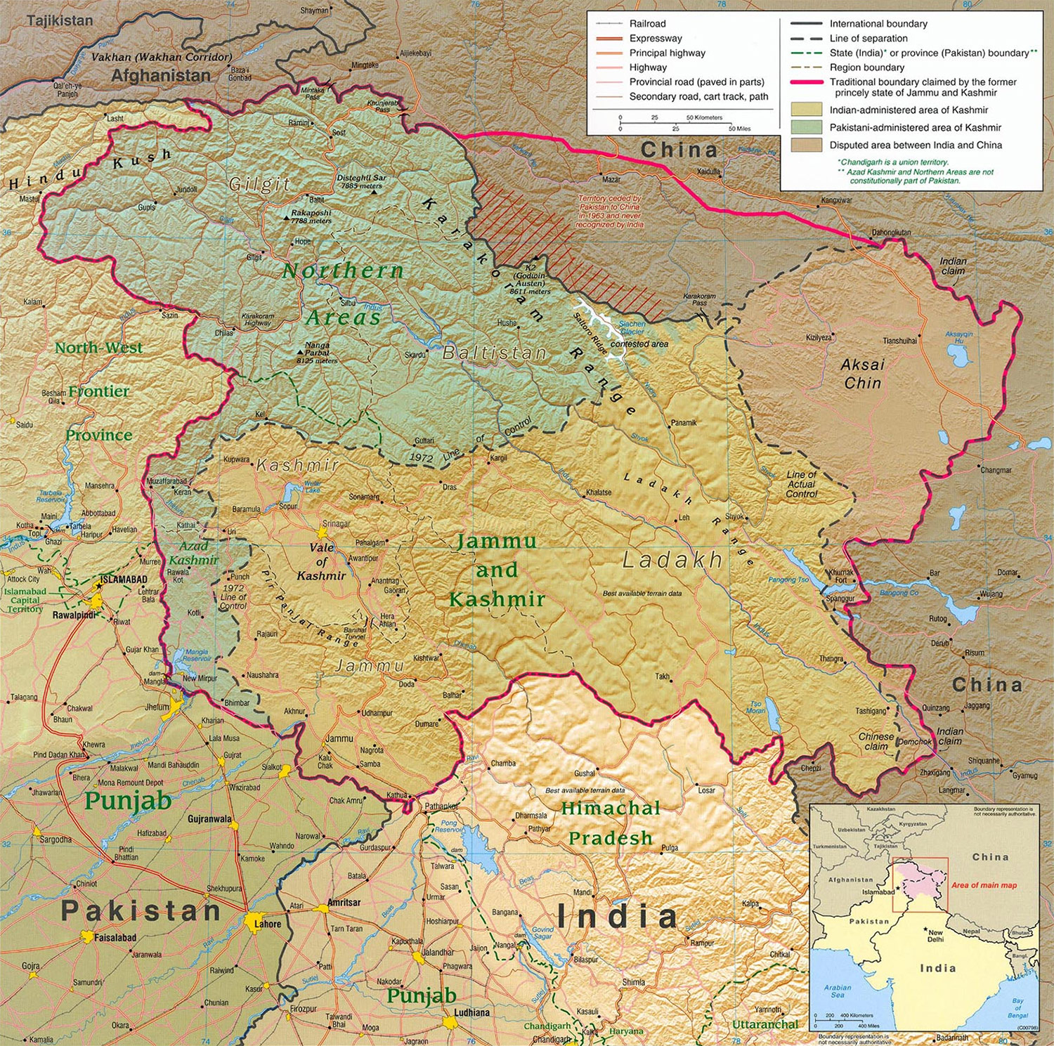 Kashmir Region large map