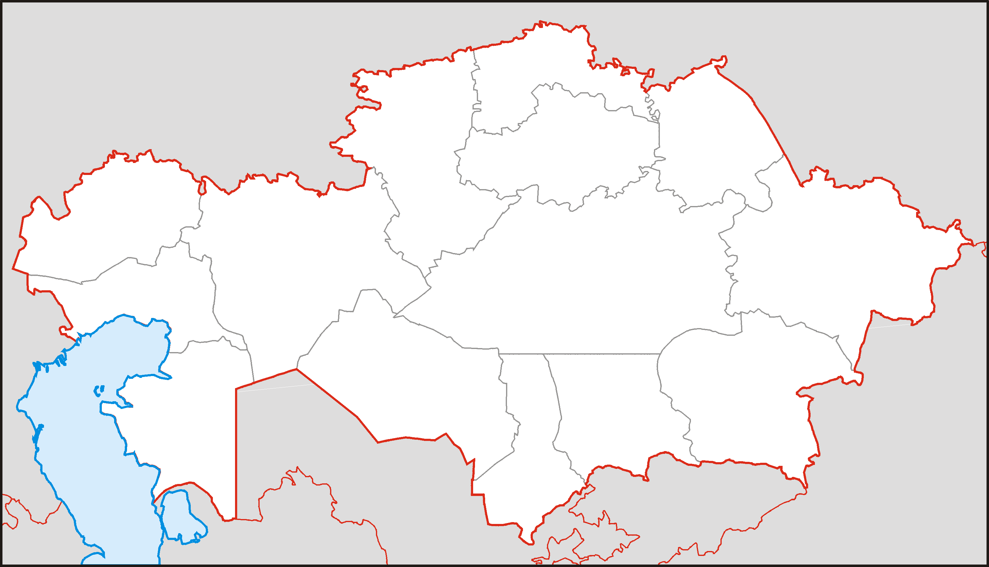 Kazakhstan Blank large map