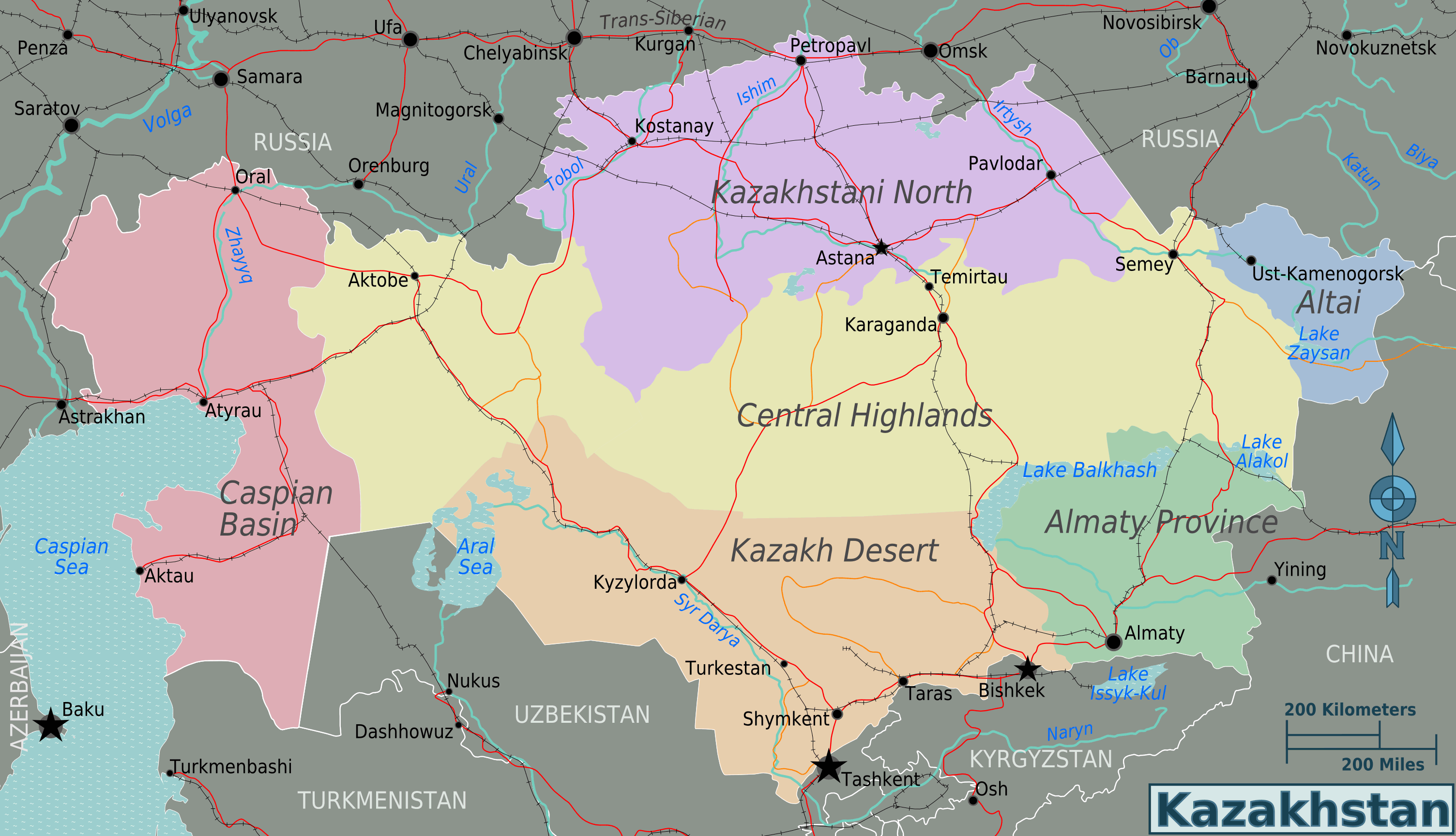 Kazakhstan Regions Map large map