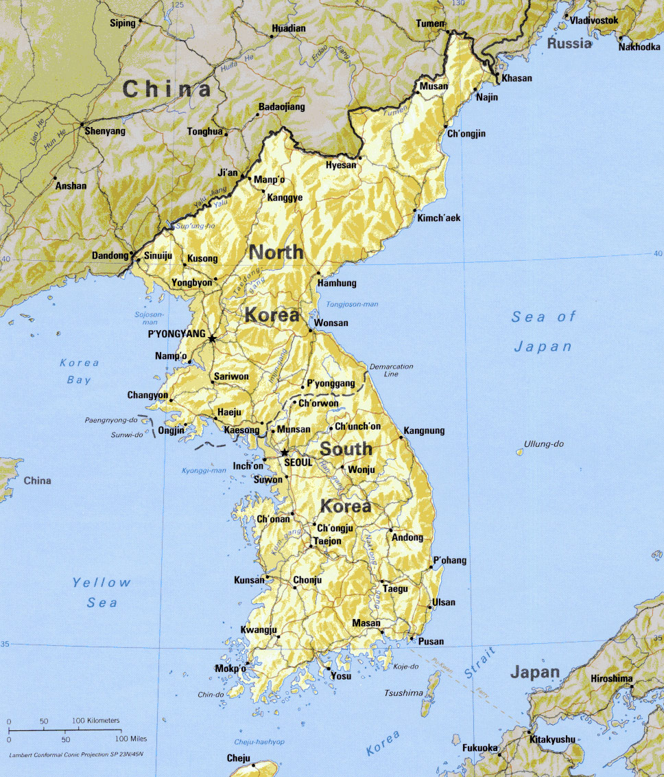 Perfect Korean Peninsula Physical Large Map
