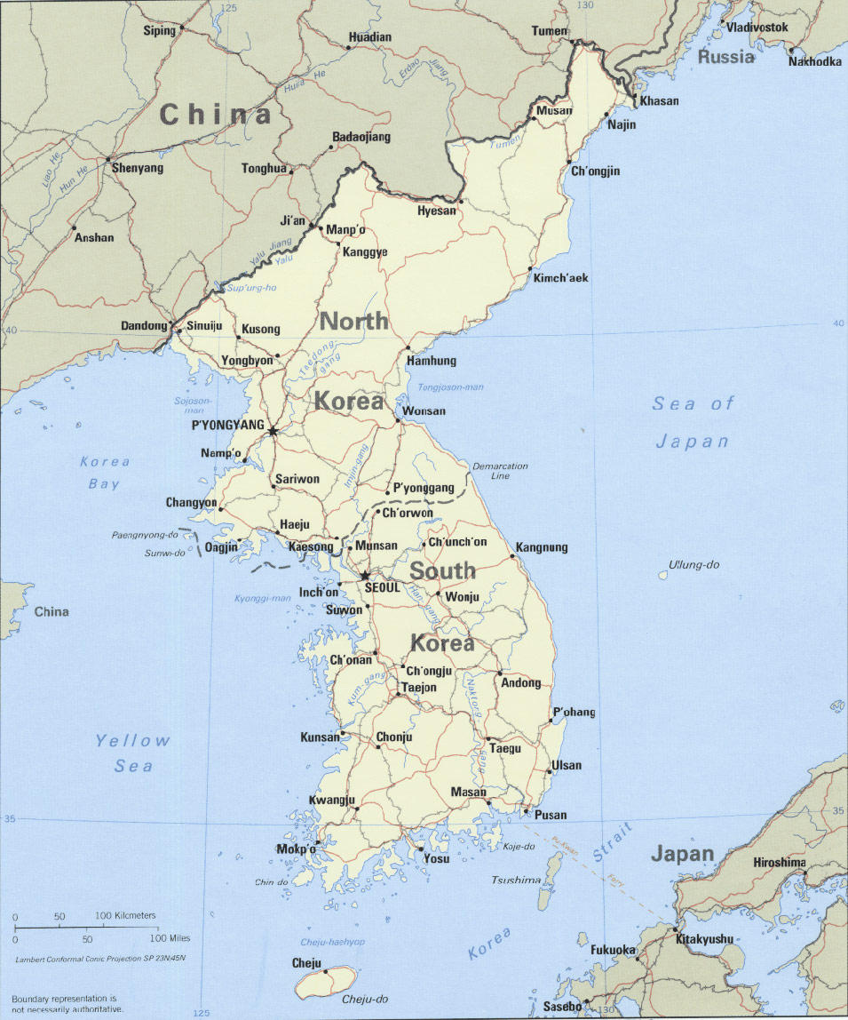 Korean Peninsula Political large map