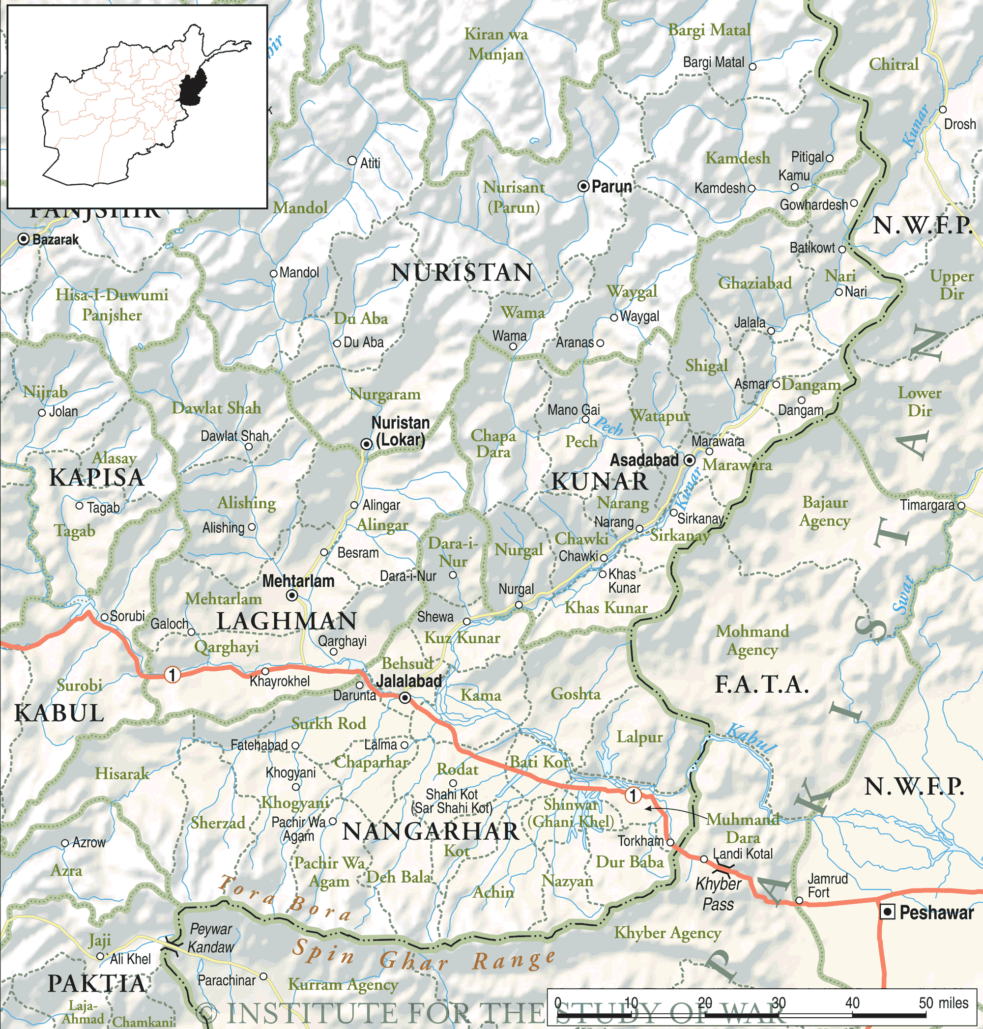 Kunar And Nuristan Map large map