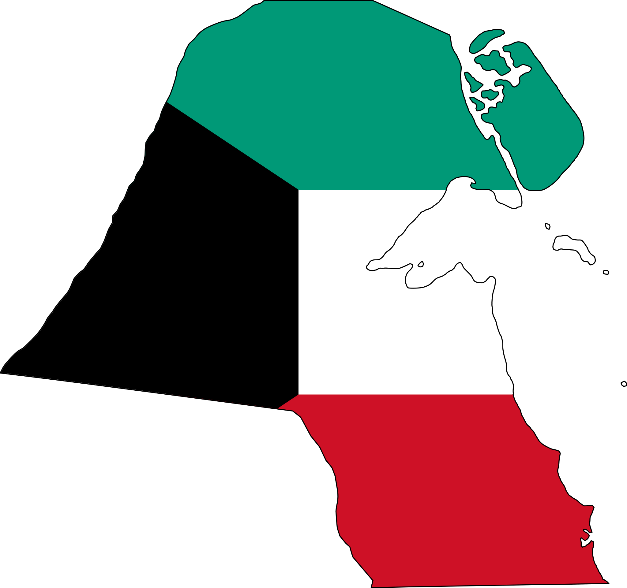 Kuwait Flag Map large map