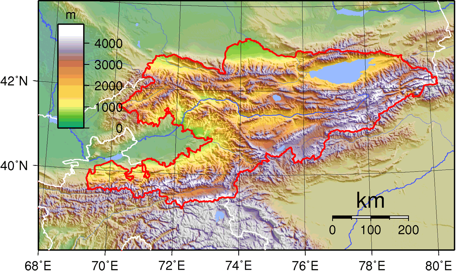 Kyrgyzstan Topography large map