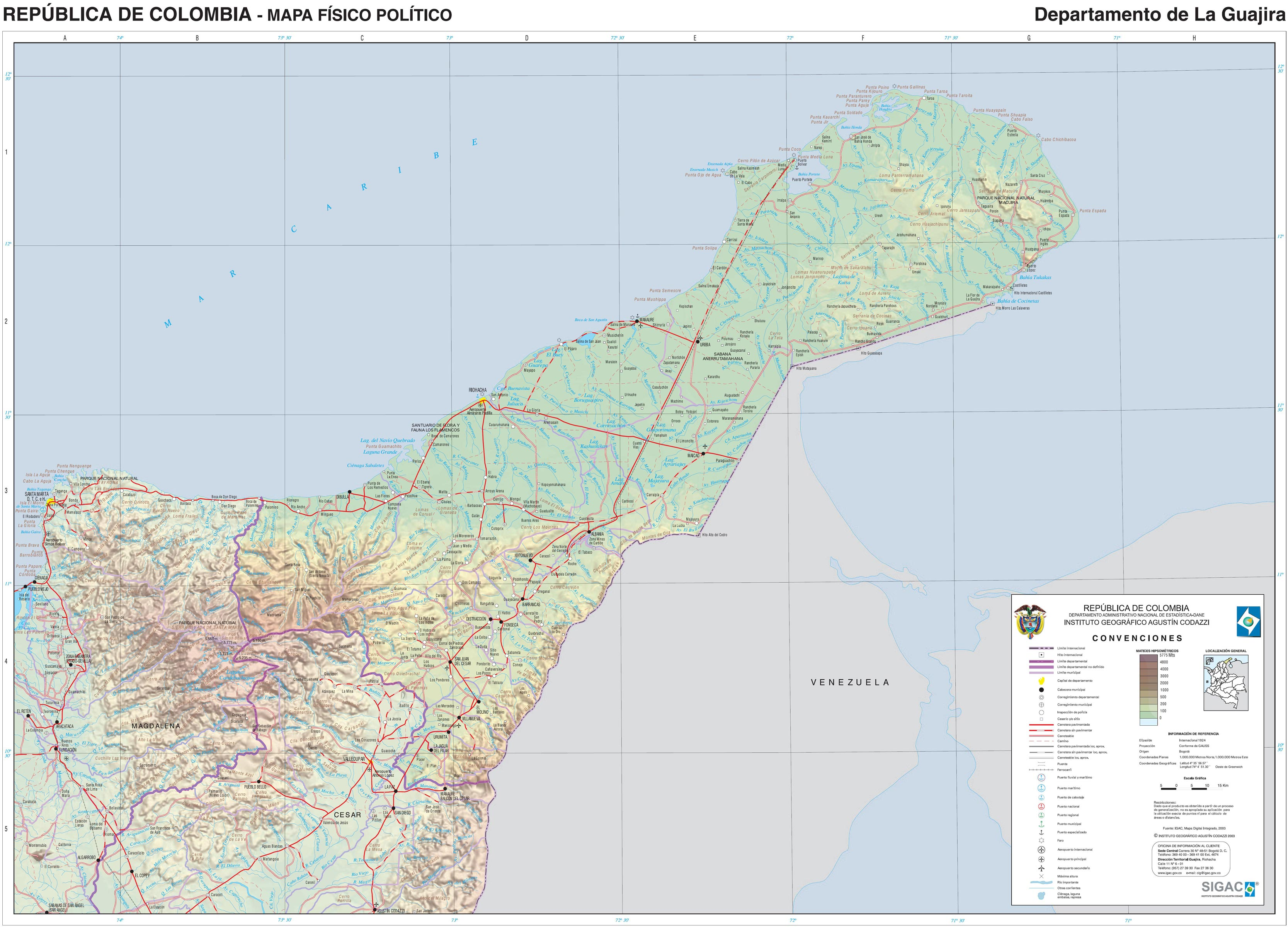 La Guajira large map