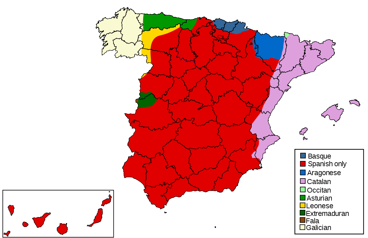 Languages of Spain large map