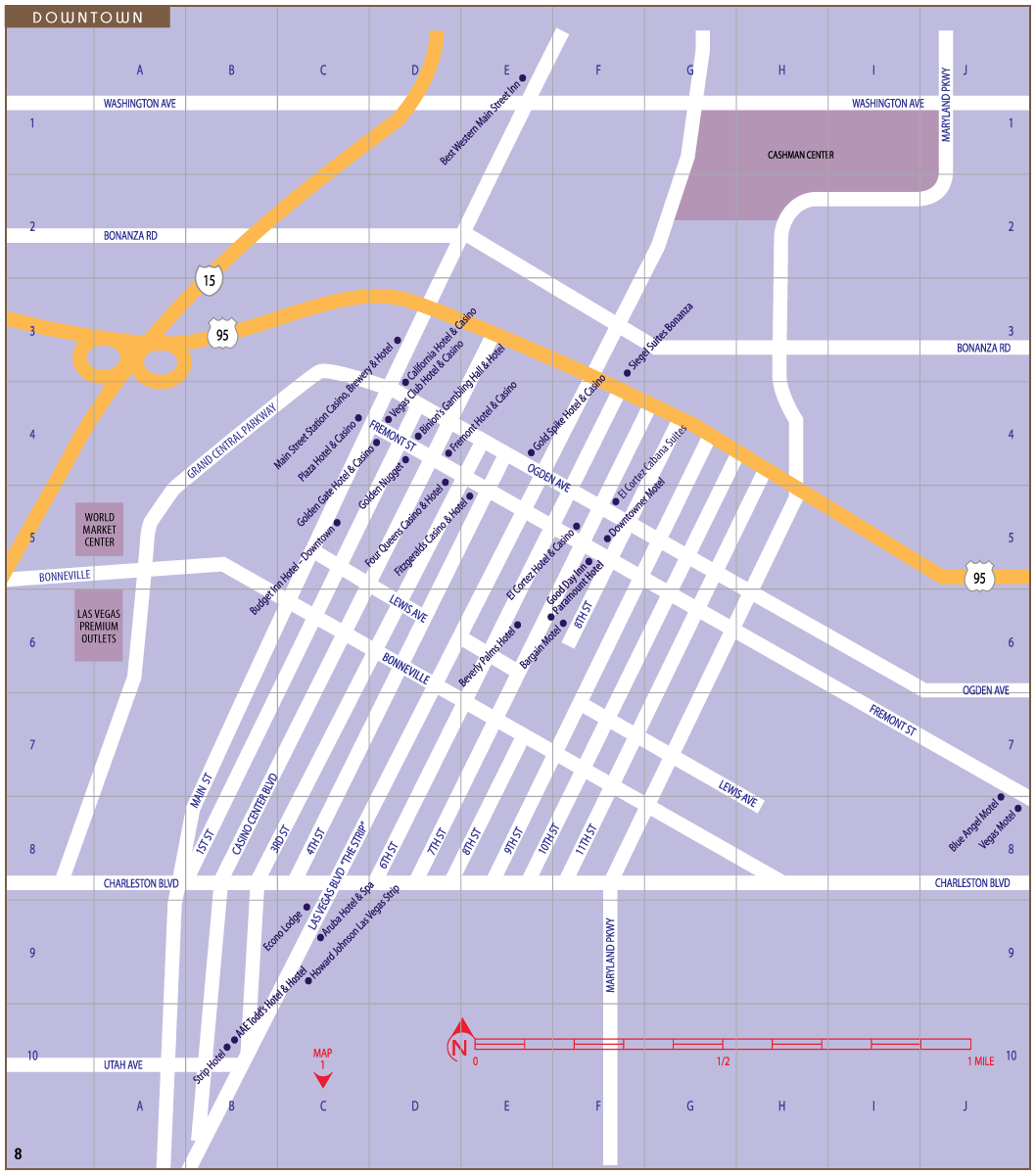 Las Vegas Downtown Hotels Map Mapsofnet - Map of downtown las vegas hotels