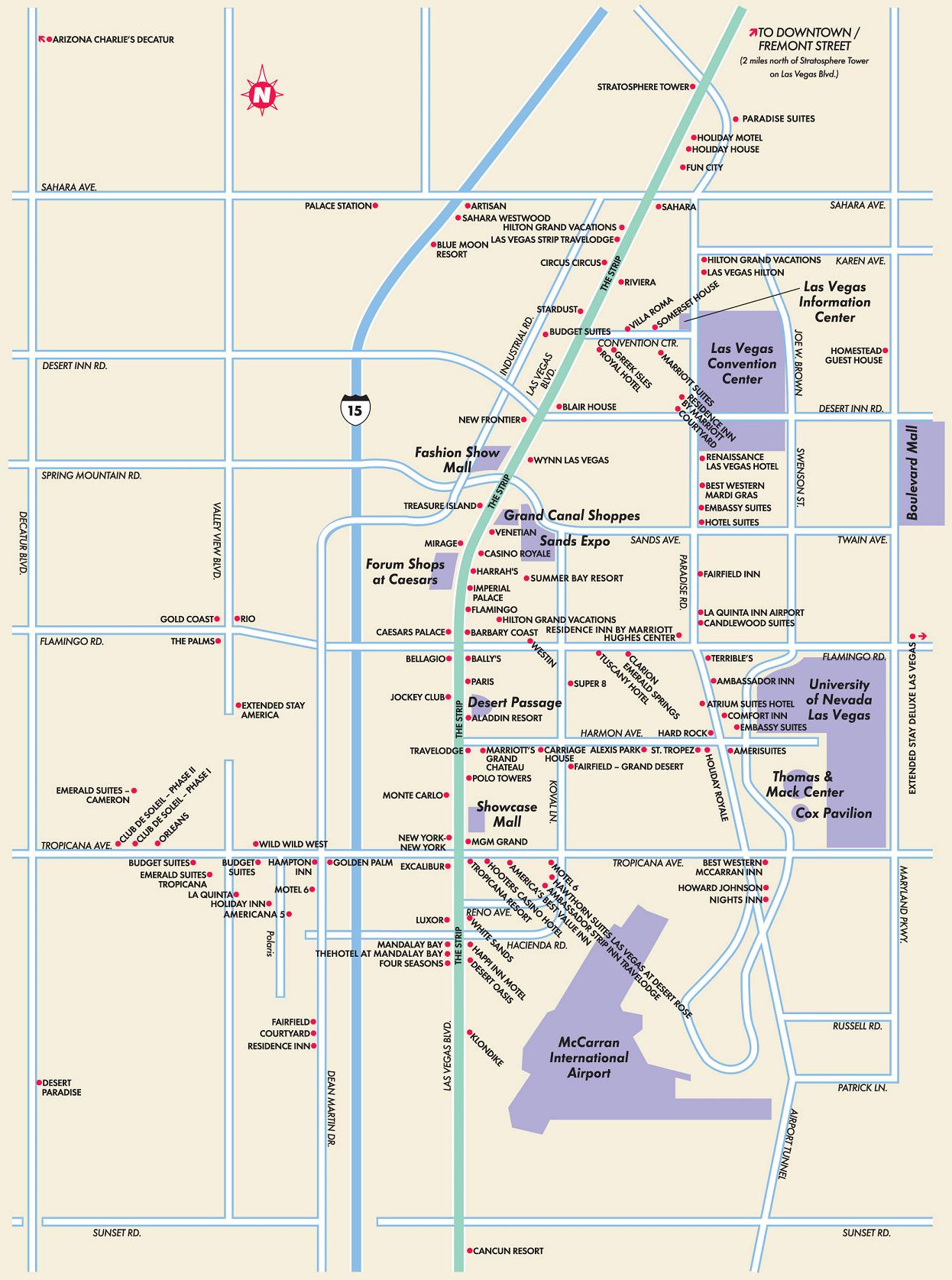 Las Vegas Hotels Map  Mapsof