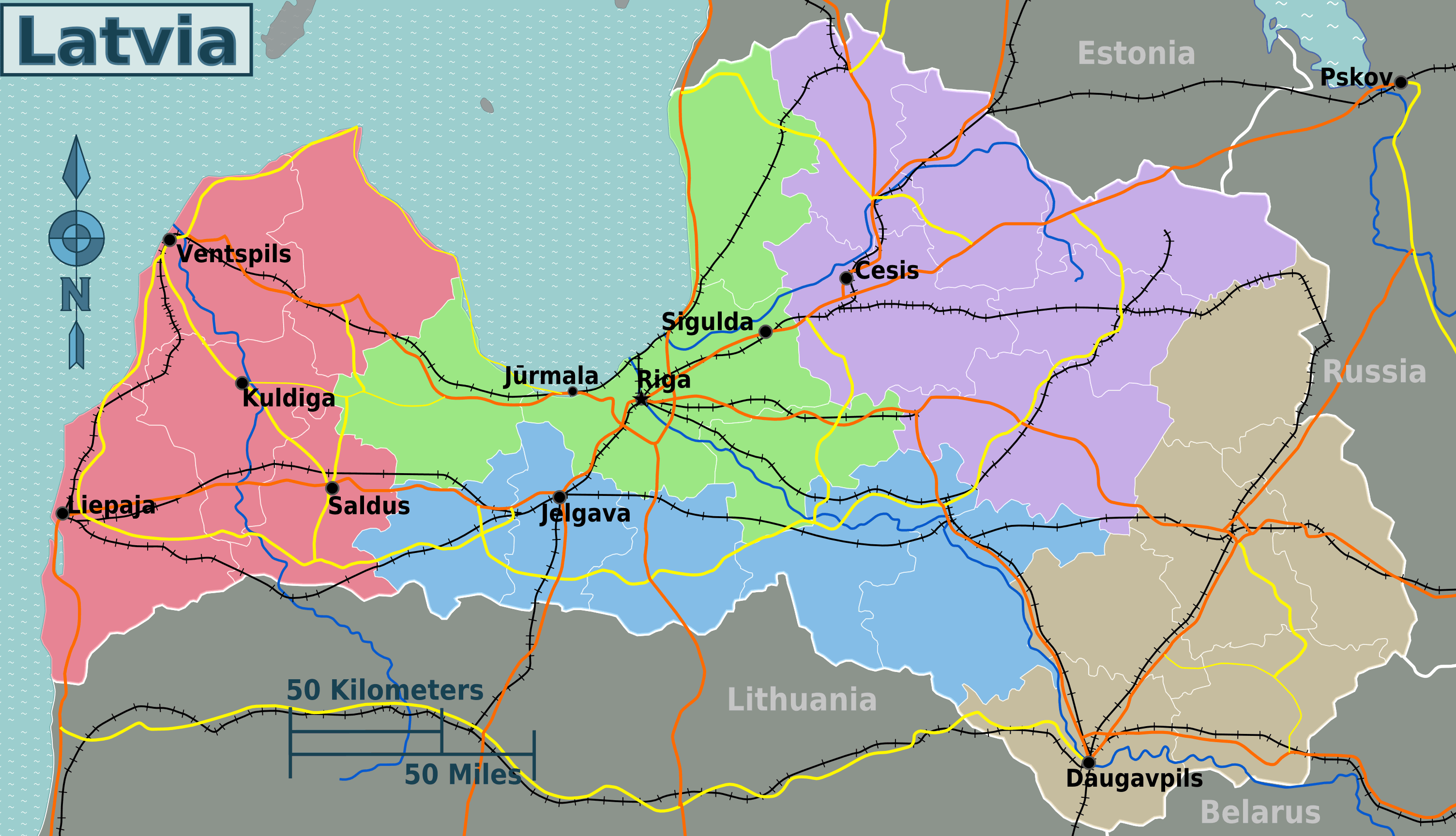Latvia Regions Map large map
