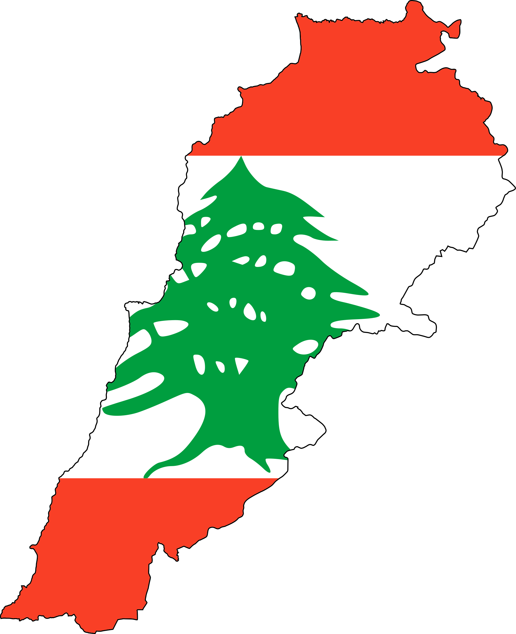 Lebanon Flag Map large map