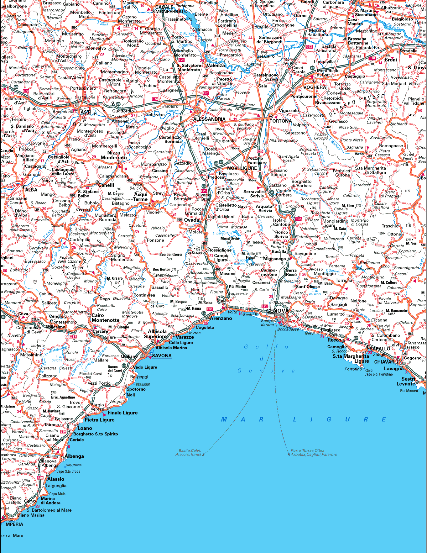 Liguria Map Mapsofnet