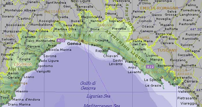 Liguria Political Map large map