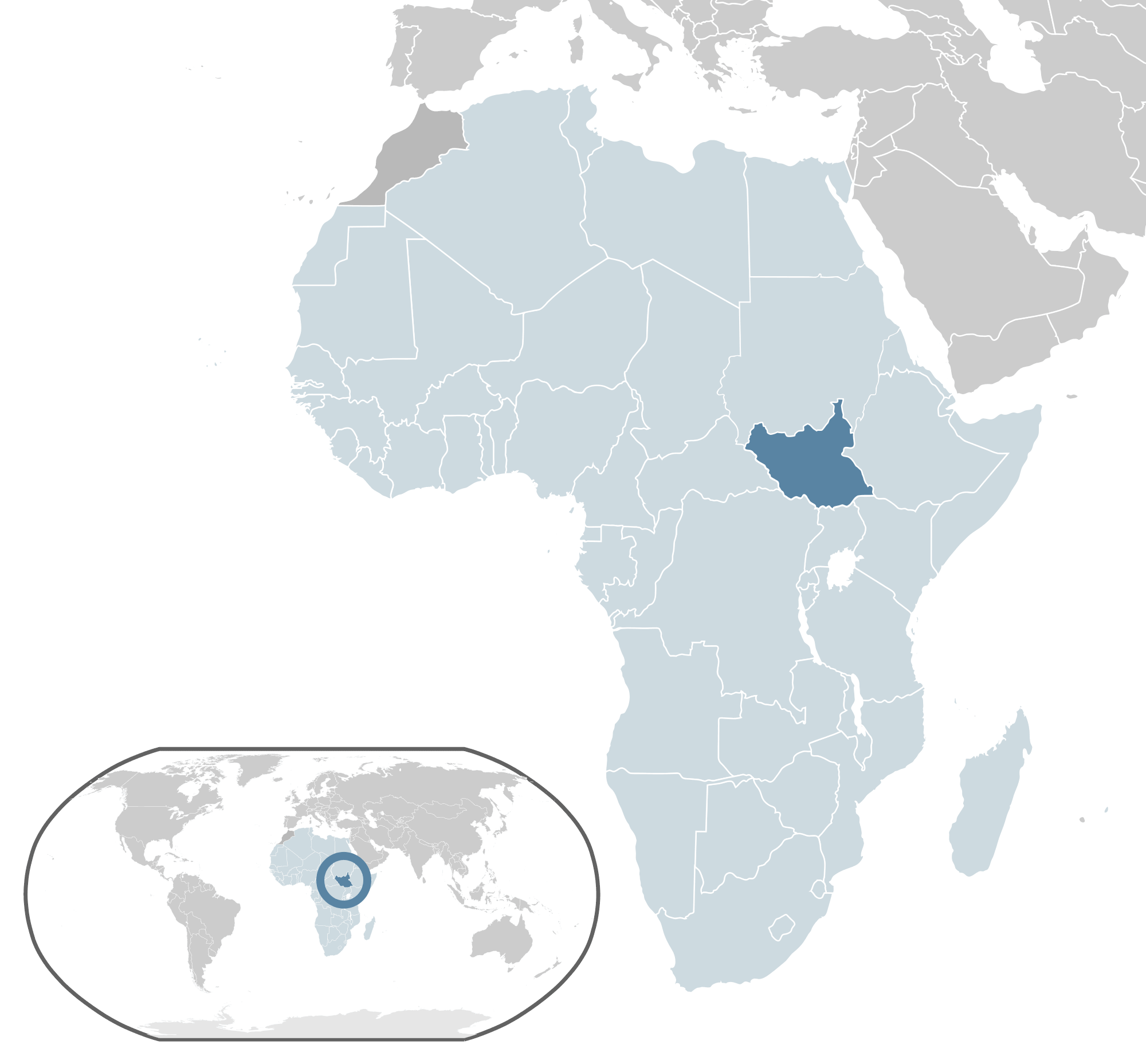 Location South Sudan large map