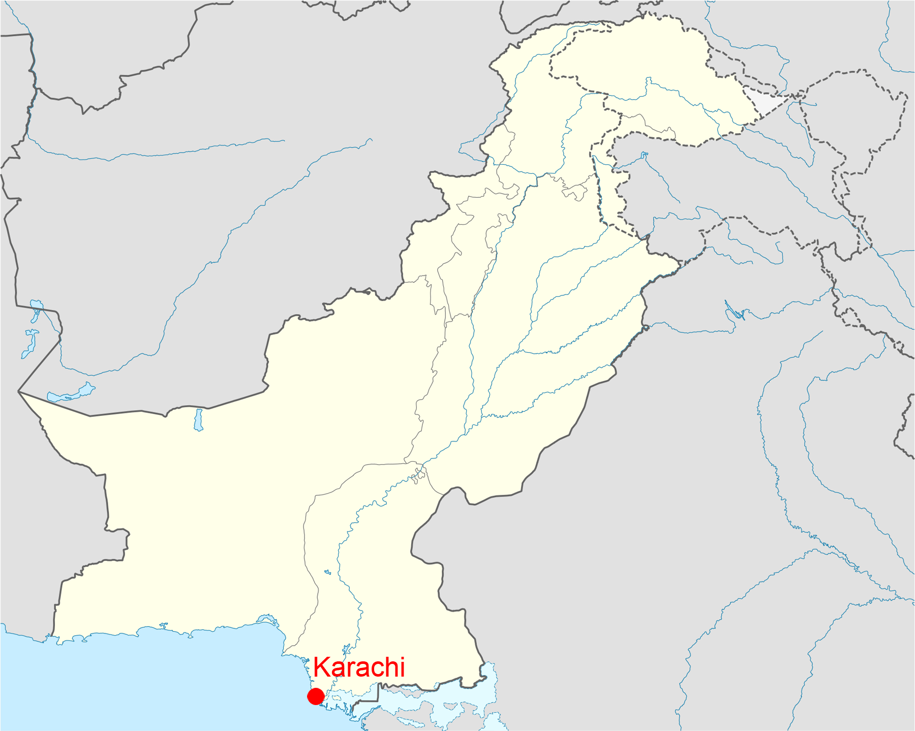 Location of Karachi Pakistan Map