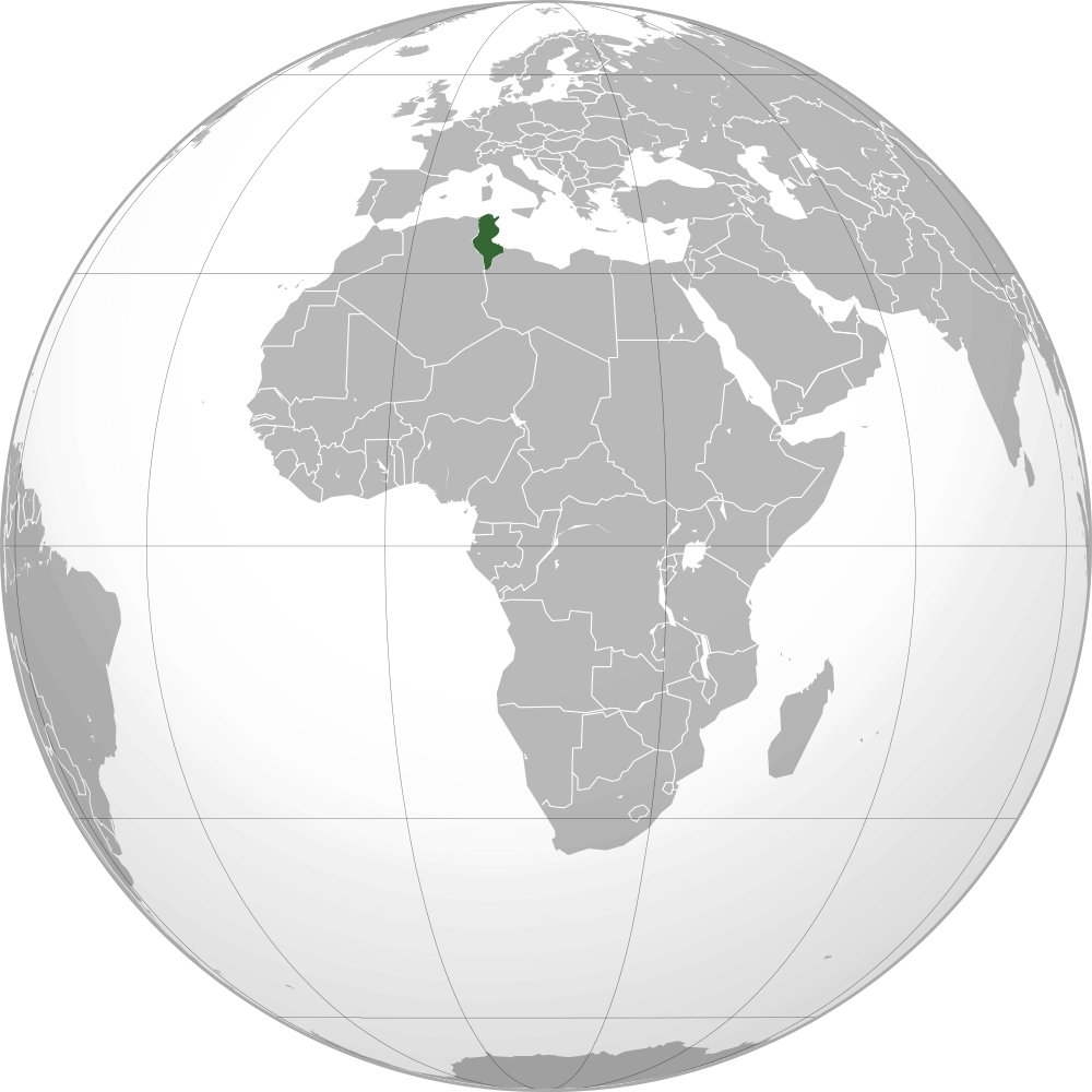 Location of Tunisia large map