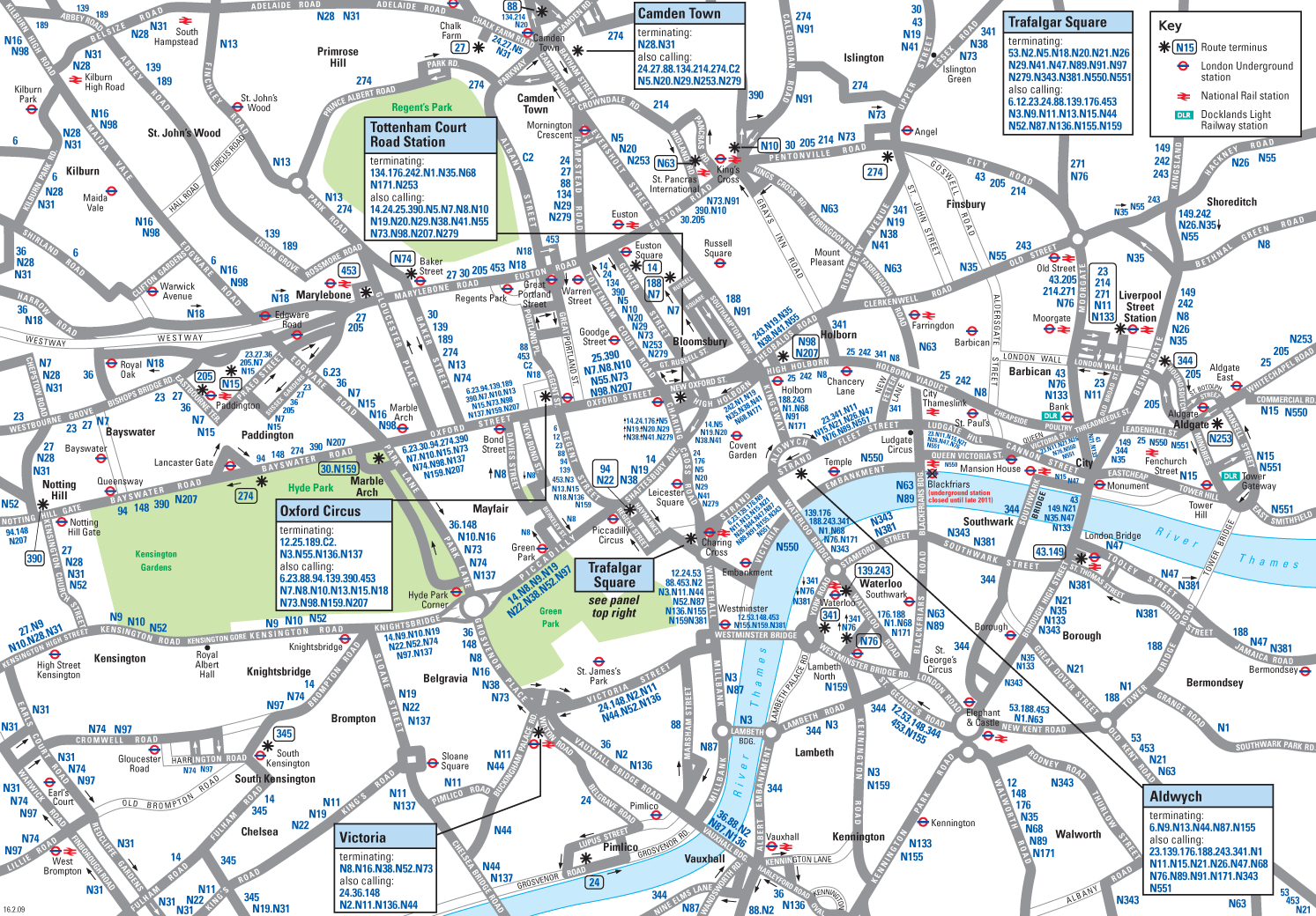 London Downtown Night Bus Map large map