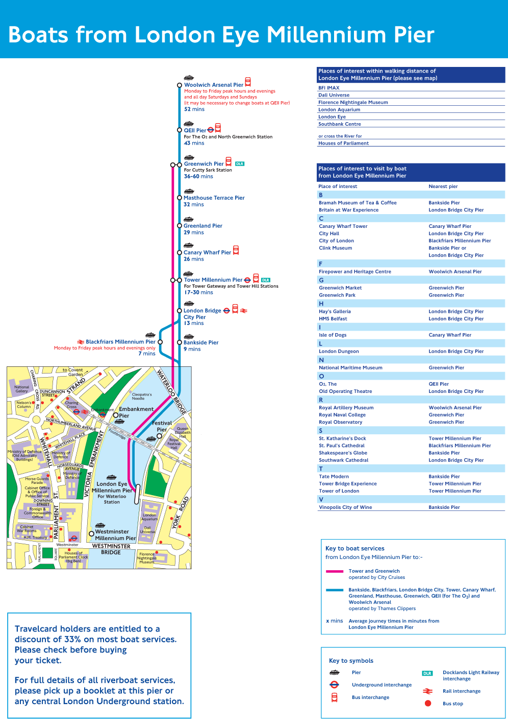London Eye Pier Route Map large map