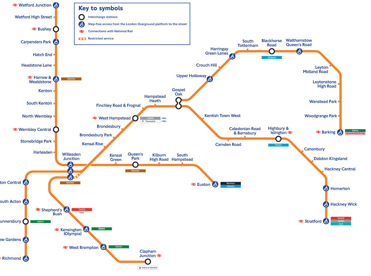 London Overground Network Map large map