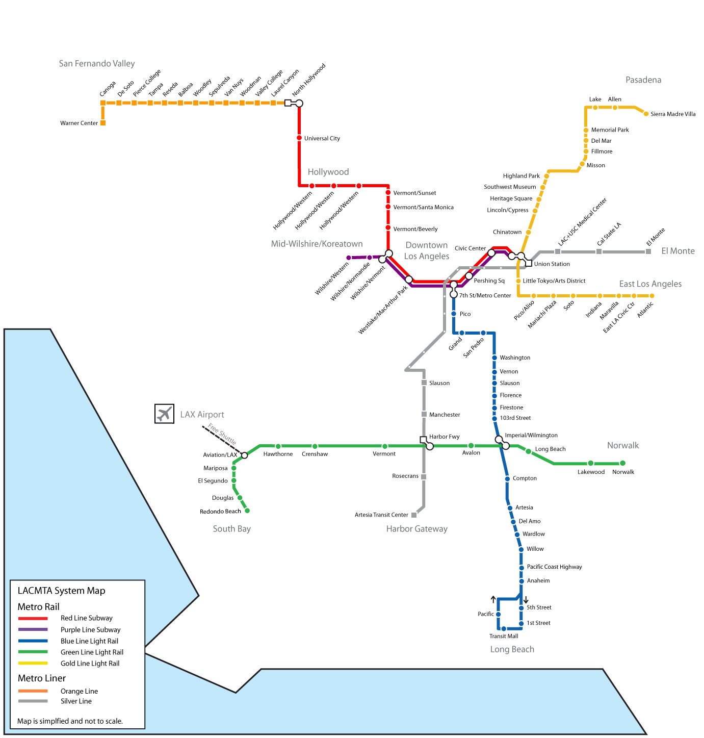 Los Angeles Metro Map 1 Mapsof Net