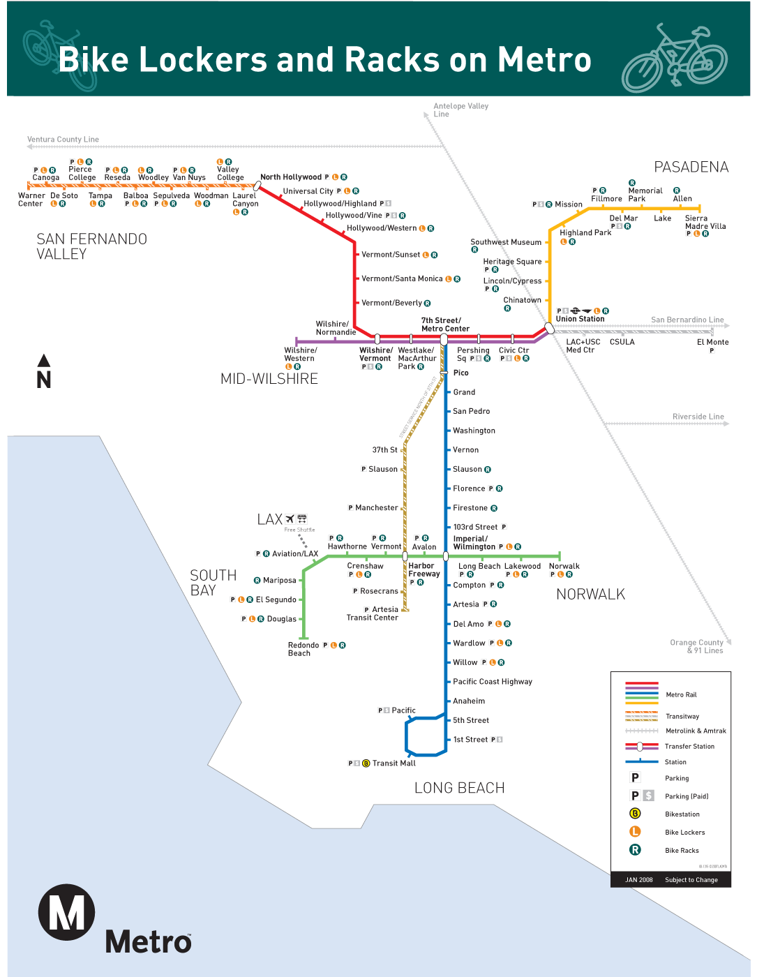 Los Angeles Metro Locer And Rack Bike Map