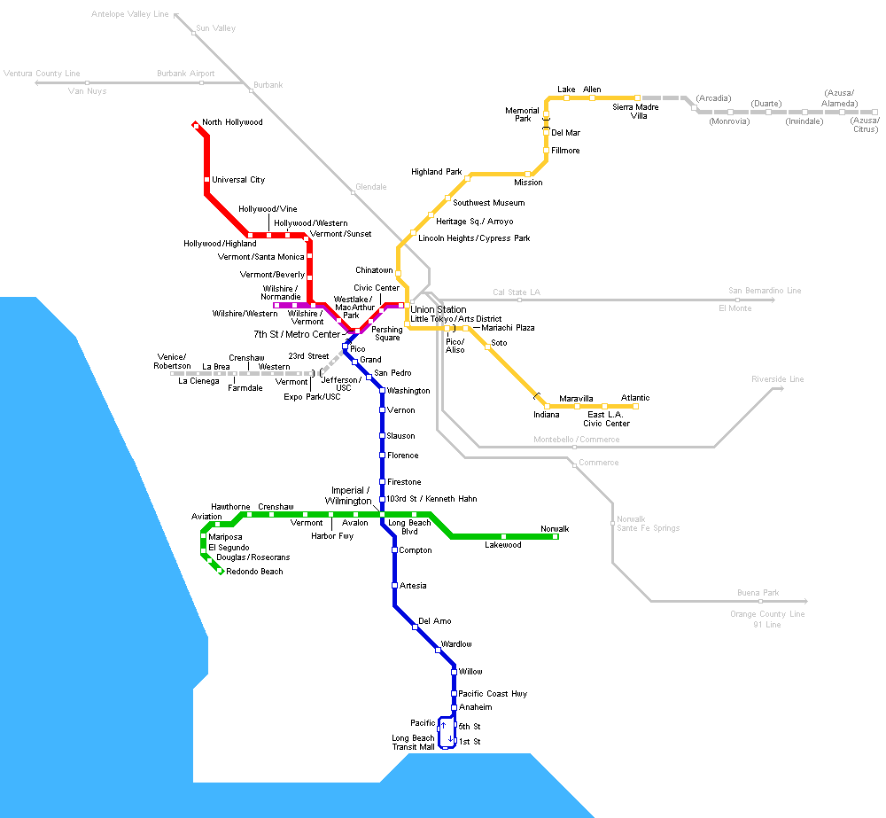 Los Angeles Map Png.Los Angeles Metro Map Mapsof Net