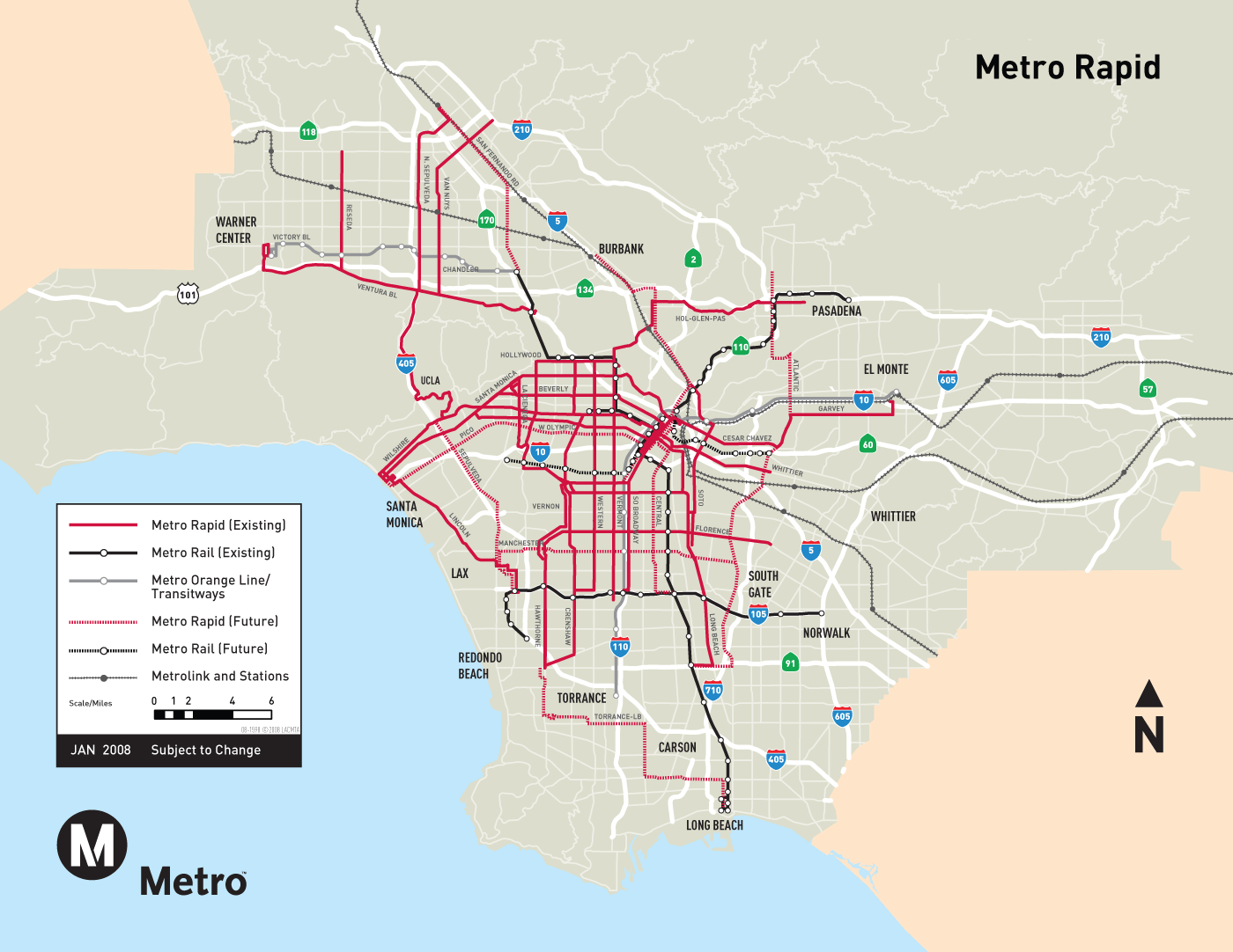 Los Angeles Metro System Map  Mapsof