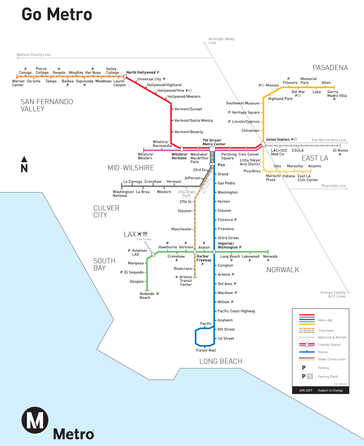 Los Angeles Rail System Map