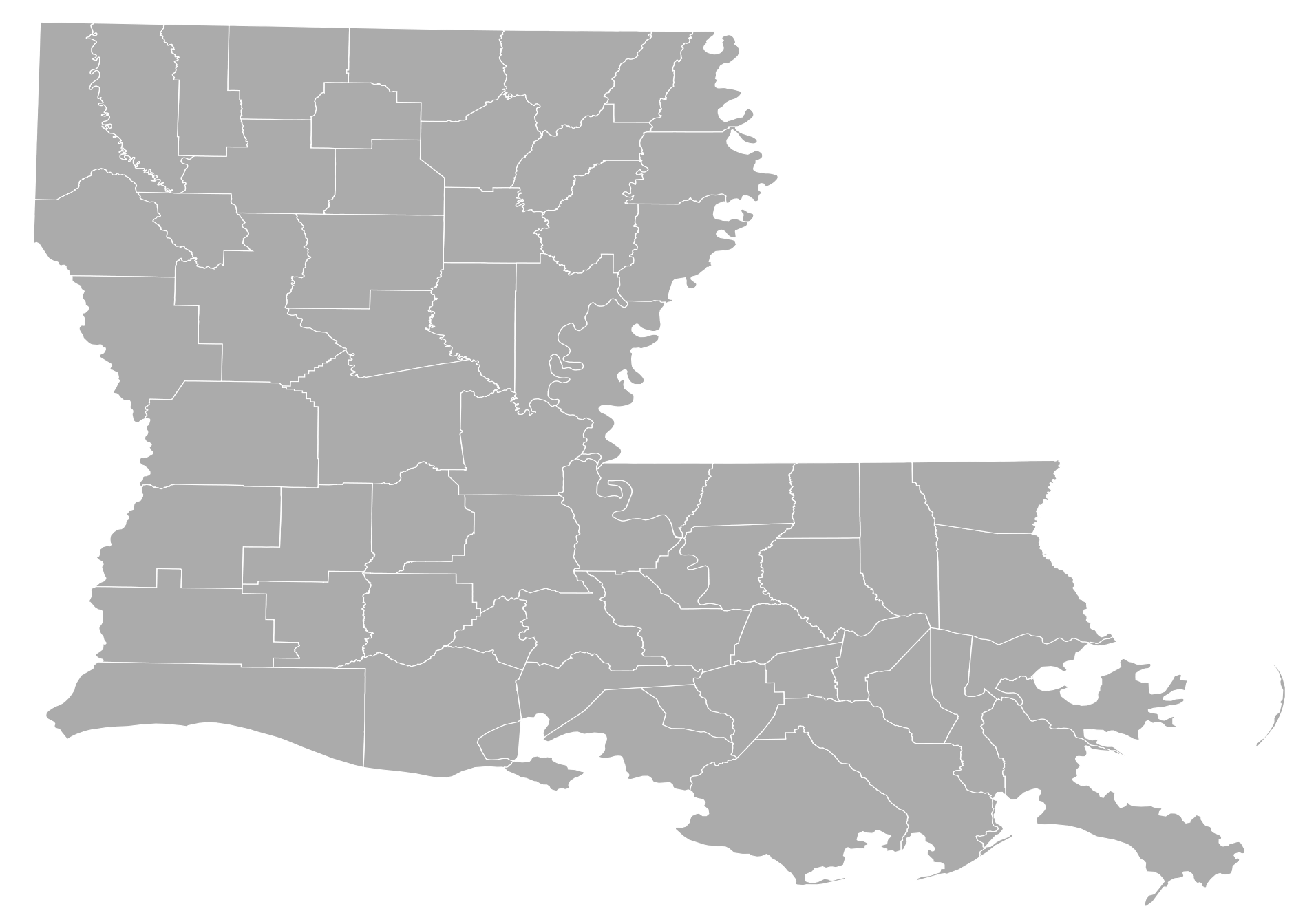 Louisiana Counties large map