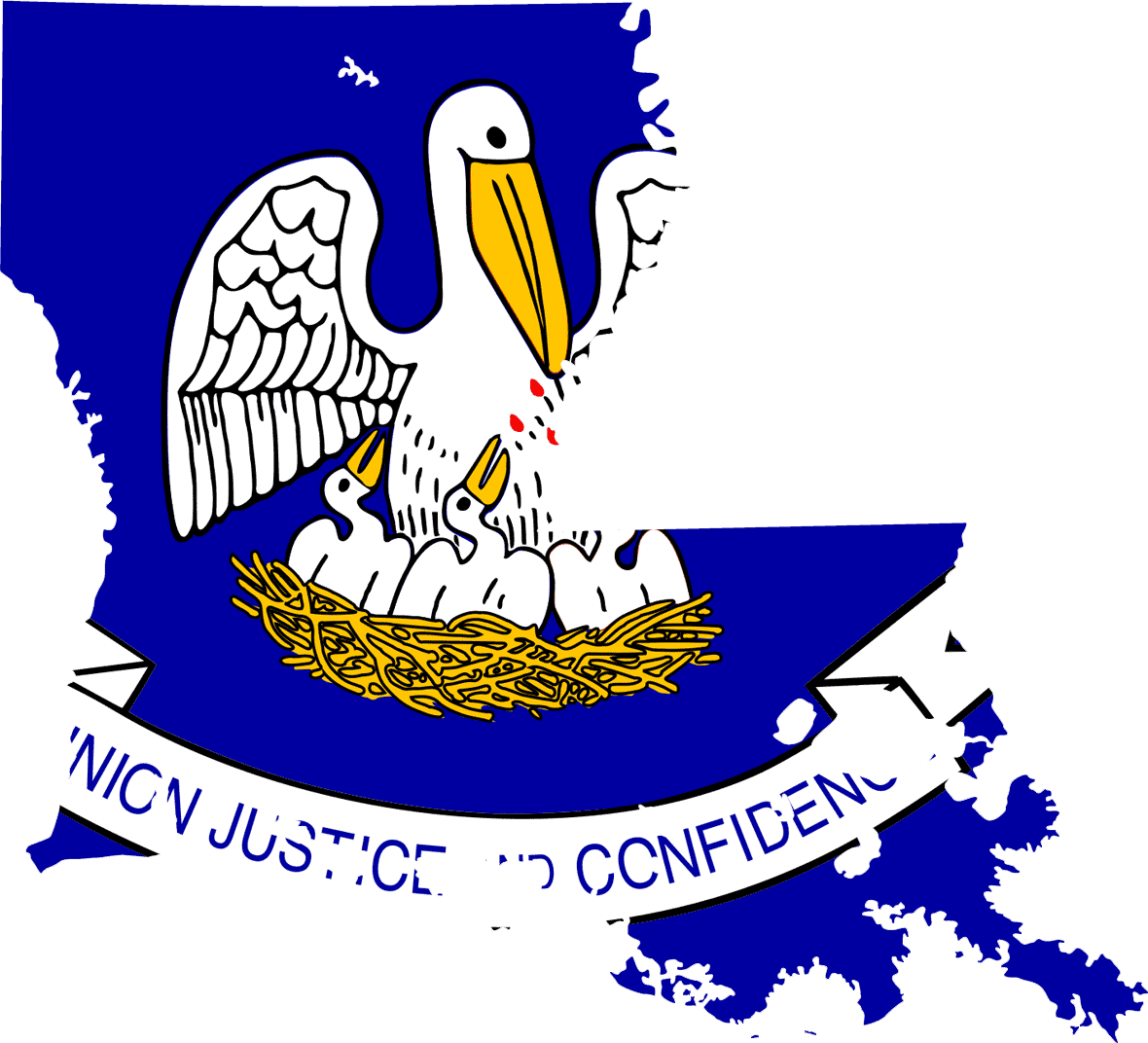 Louisiana Flag Map large map