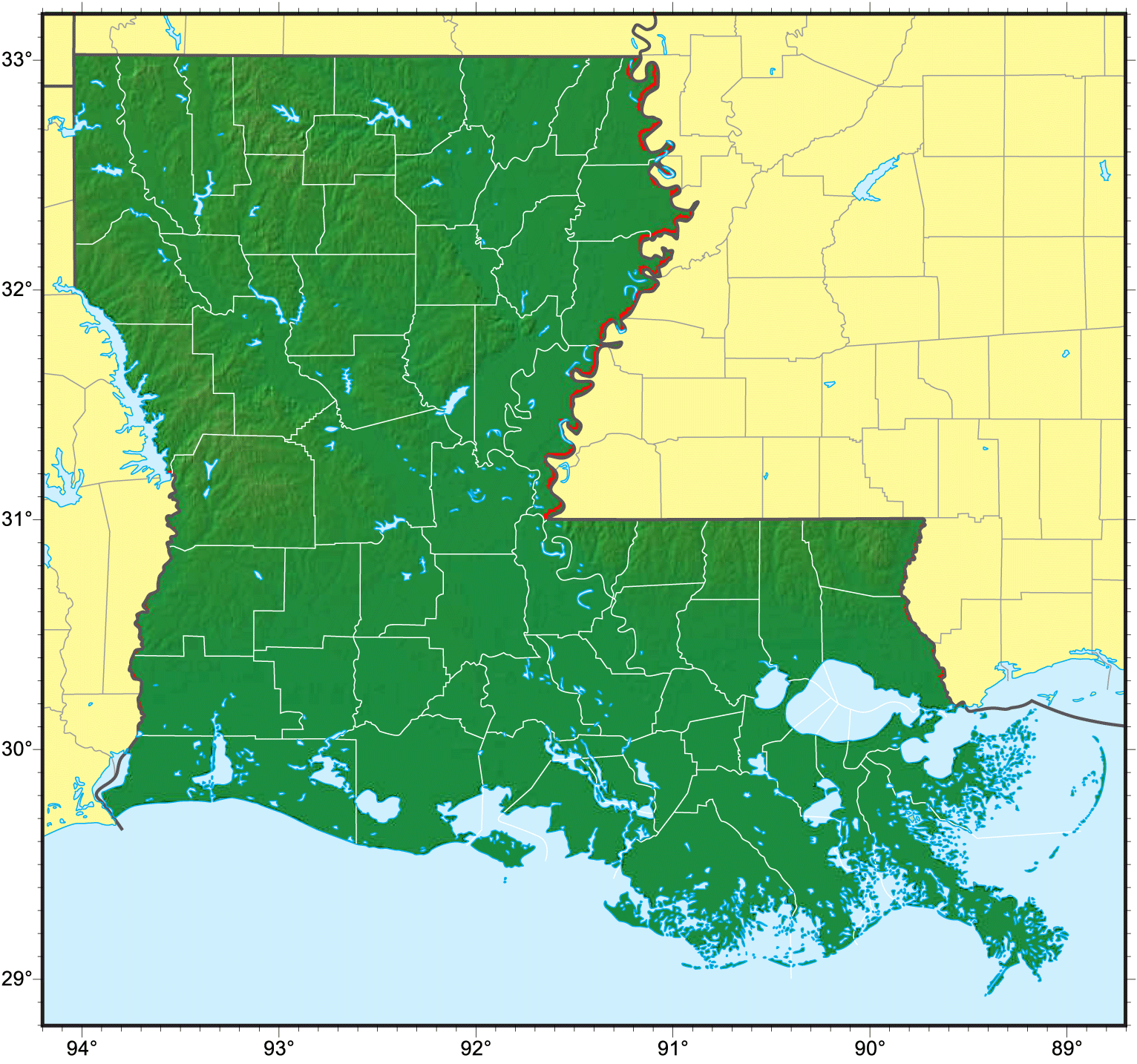 Louisiana Relief Map large map
