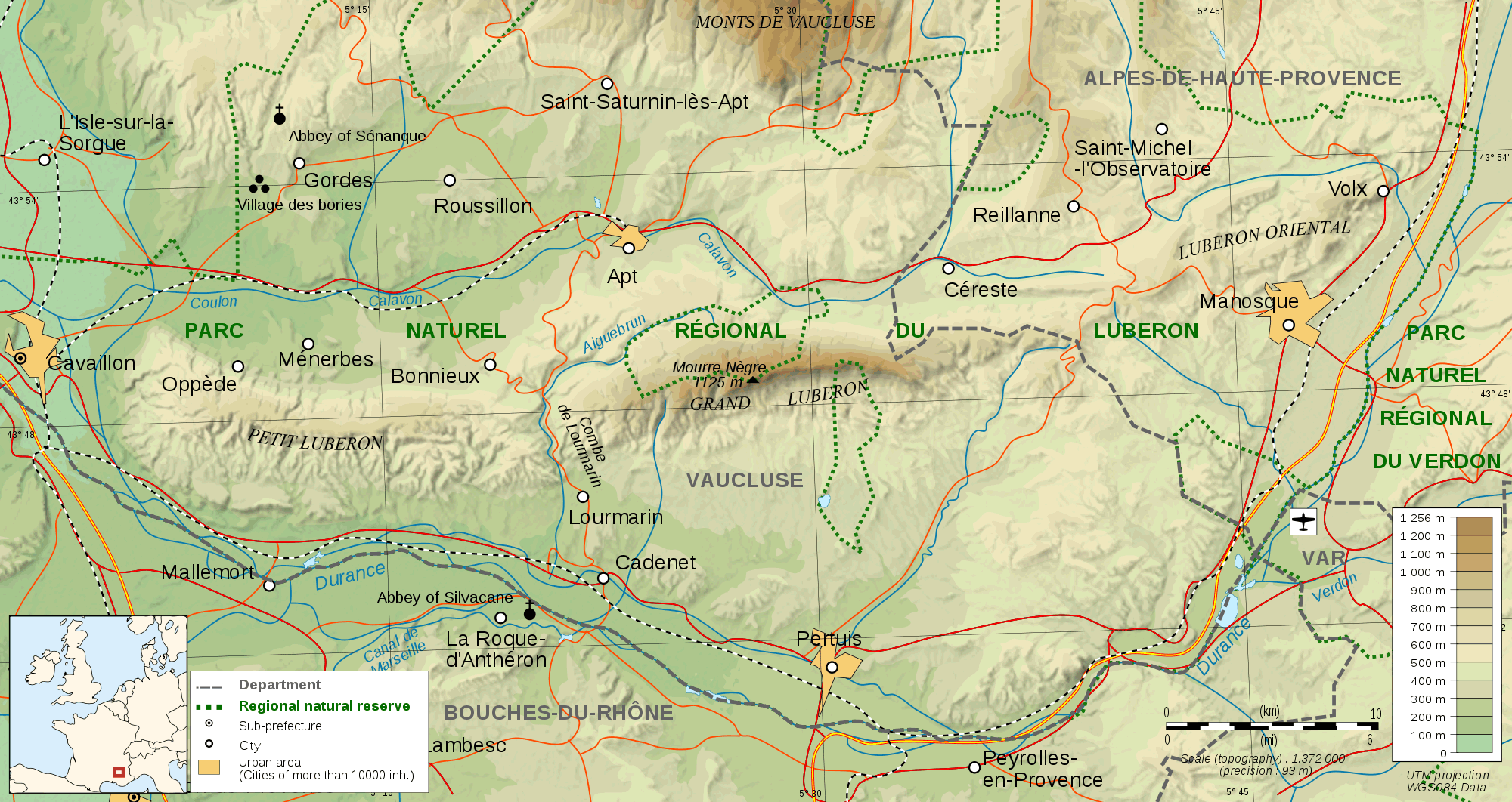 Luberon Topographic Map