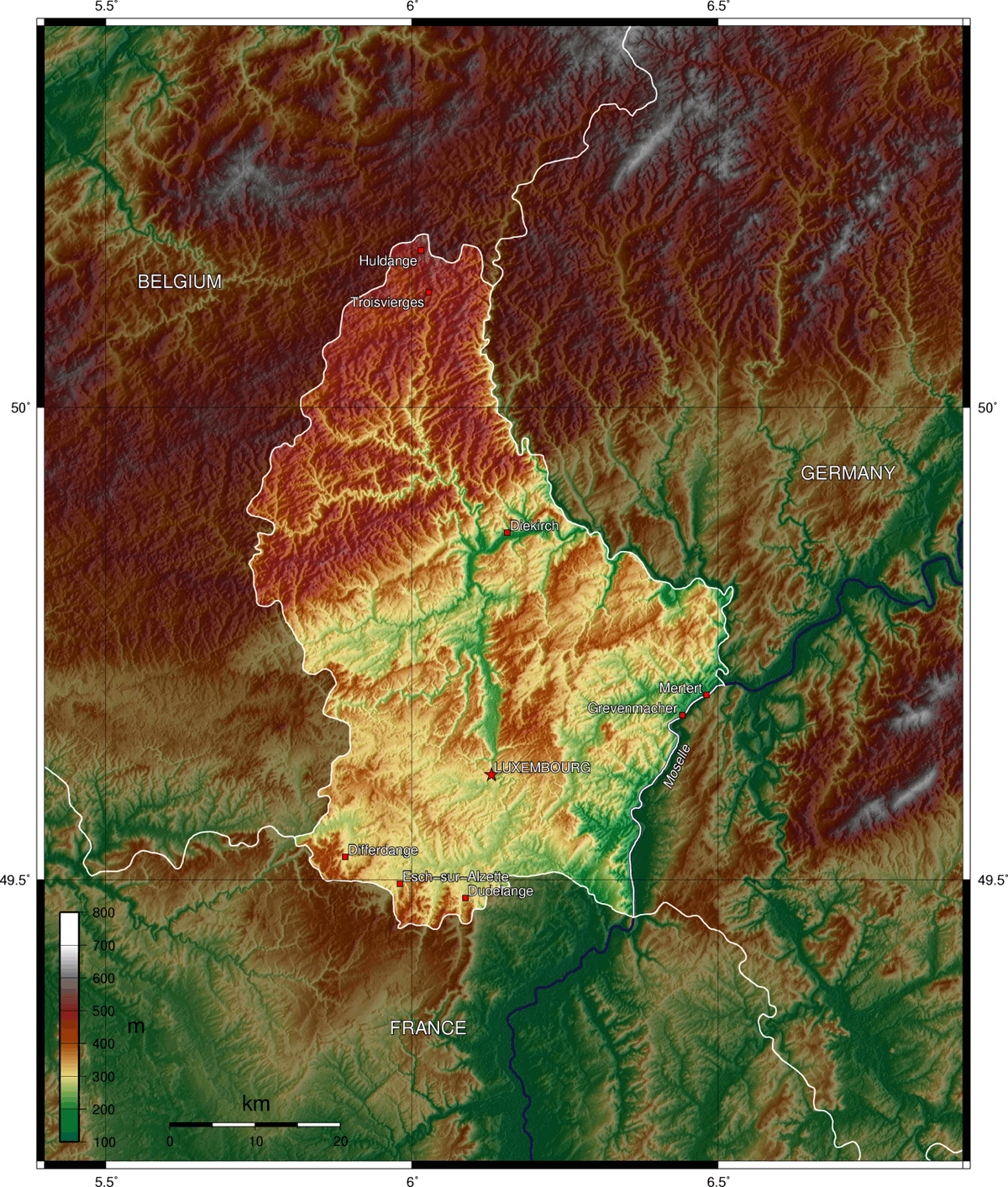 Luxembourg Topographic Map 1 large map