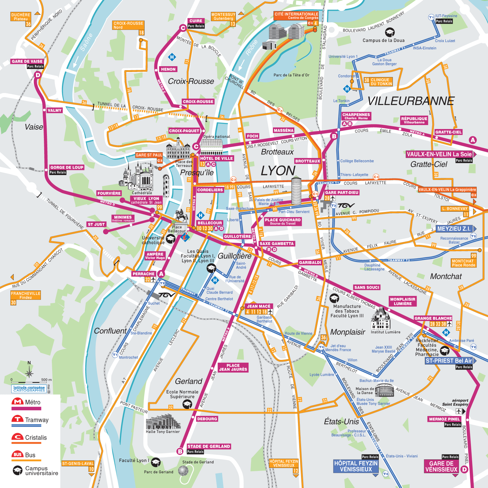 Lyon Transport Map - Mapsof.net