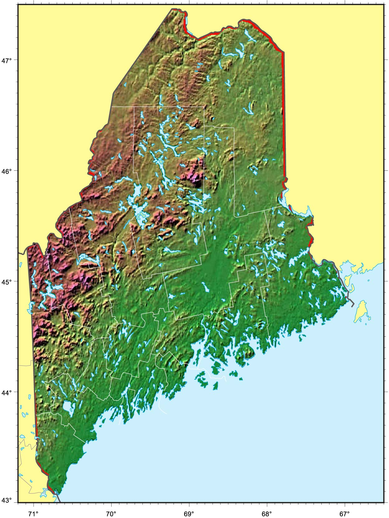 Maine Relief Map  Mapsof