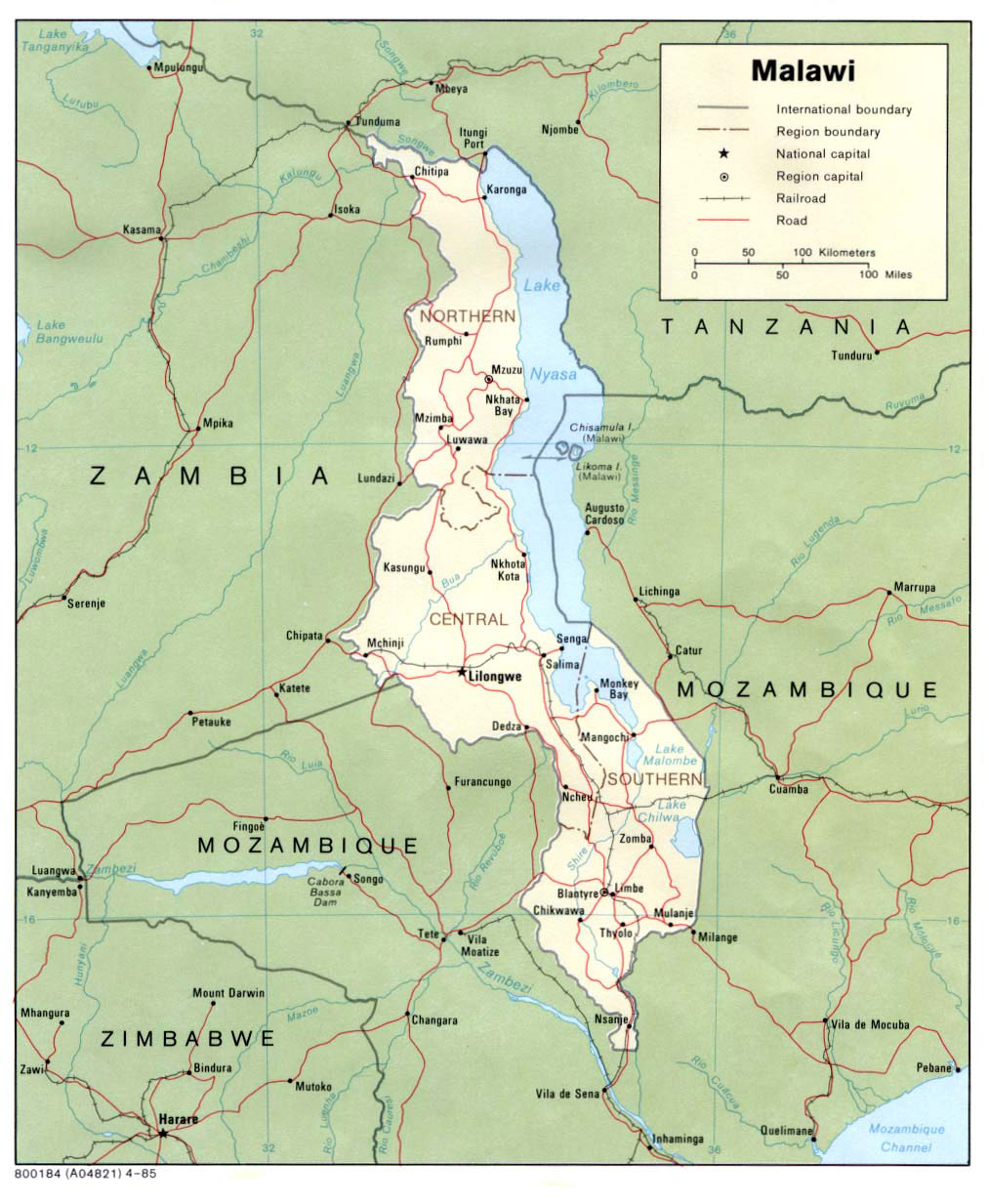 Malawi Map Political large map