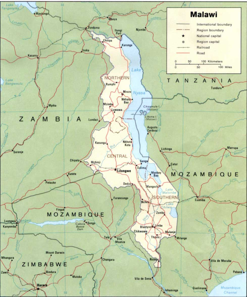 Malawi Map Political 2 large map