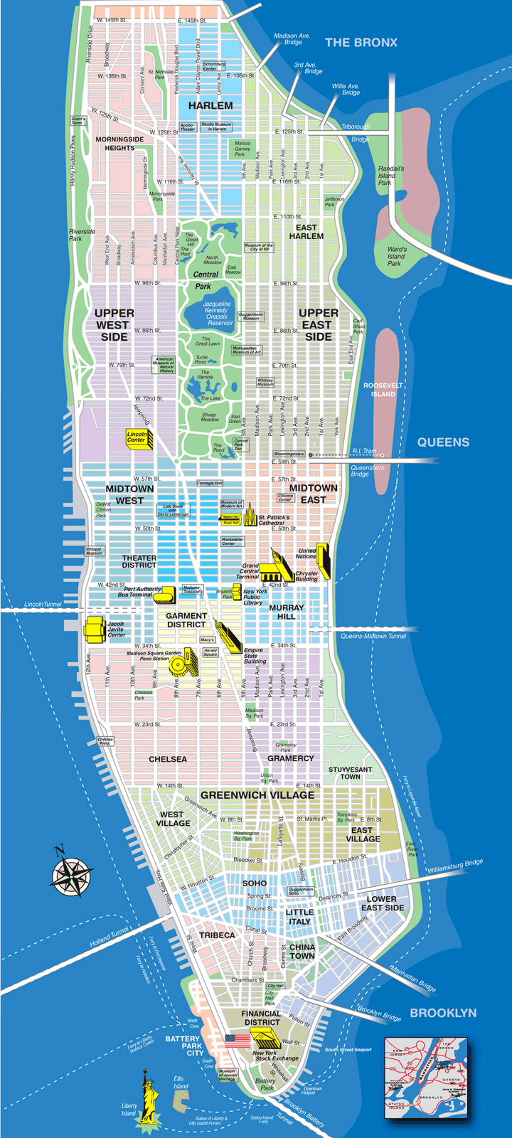 Manhattan Tourist Map large map